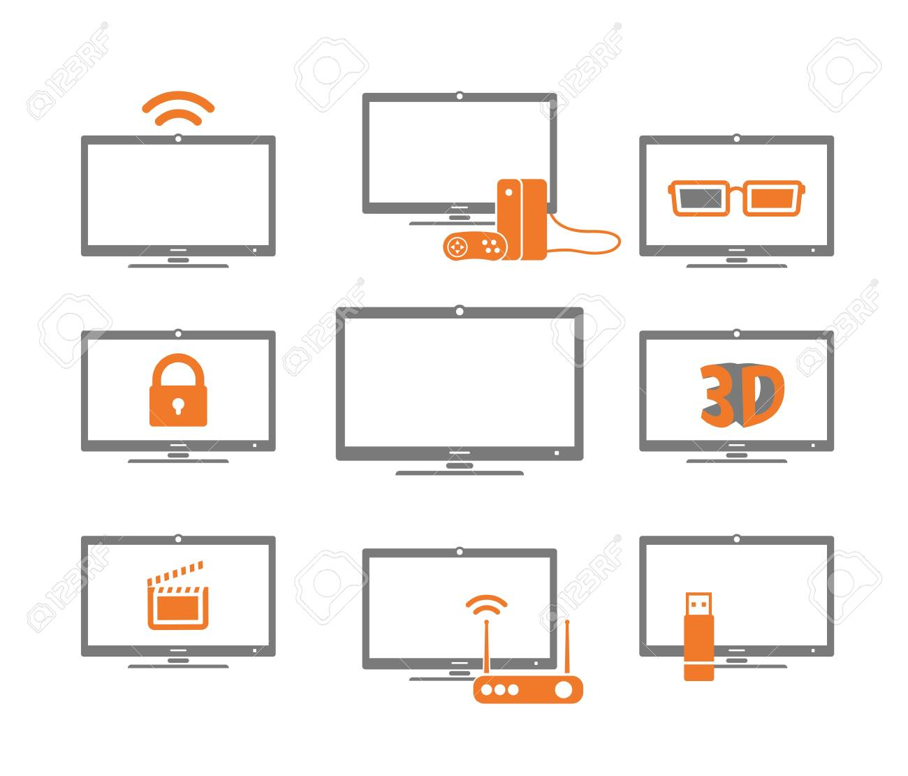 TV collection isolated on white Stock Vector - 19377072