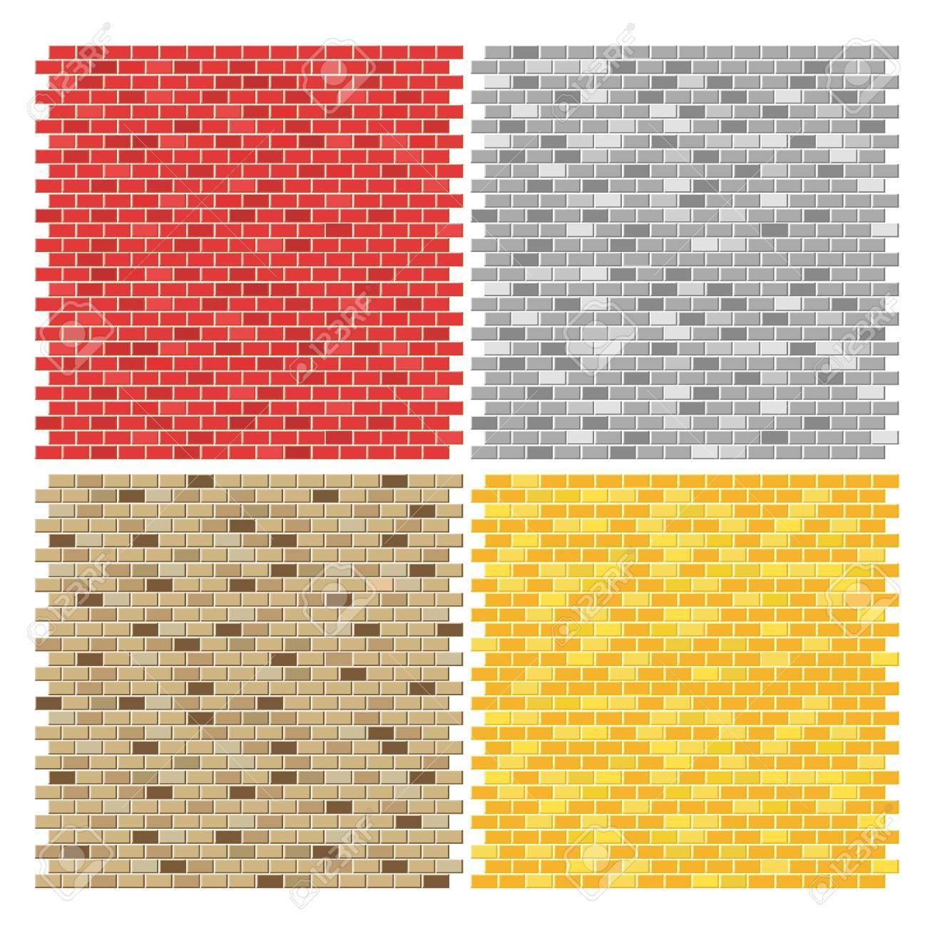 Color Brick Wall Textures Collection Ilustraciones Vectoriales, Clip ...