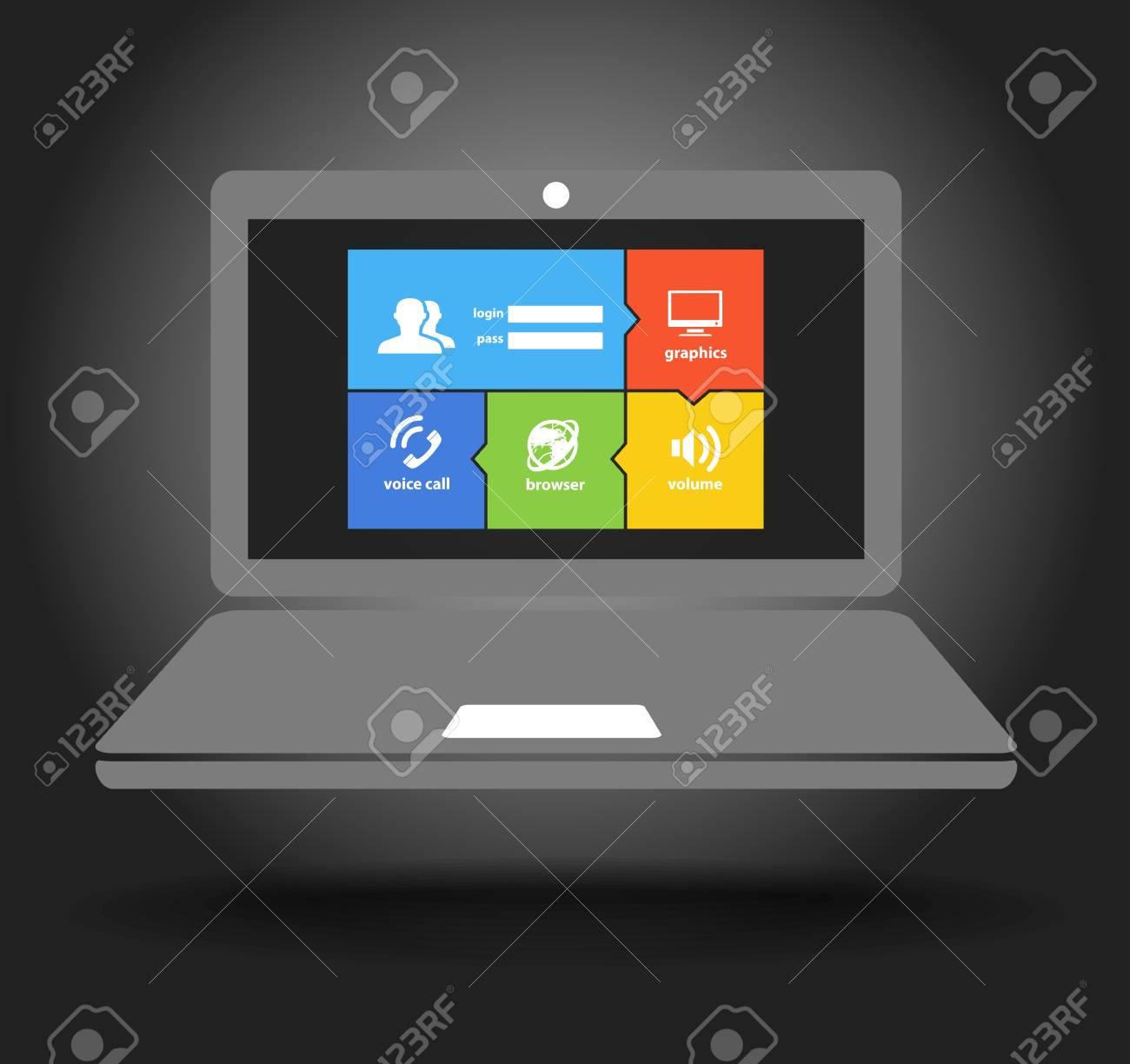 Laptop display with modern color tile interface Stock Vector - 21599973