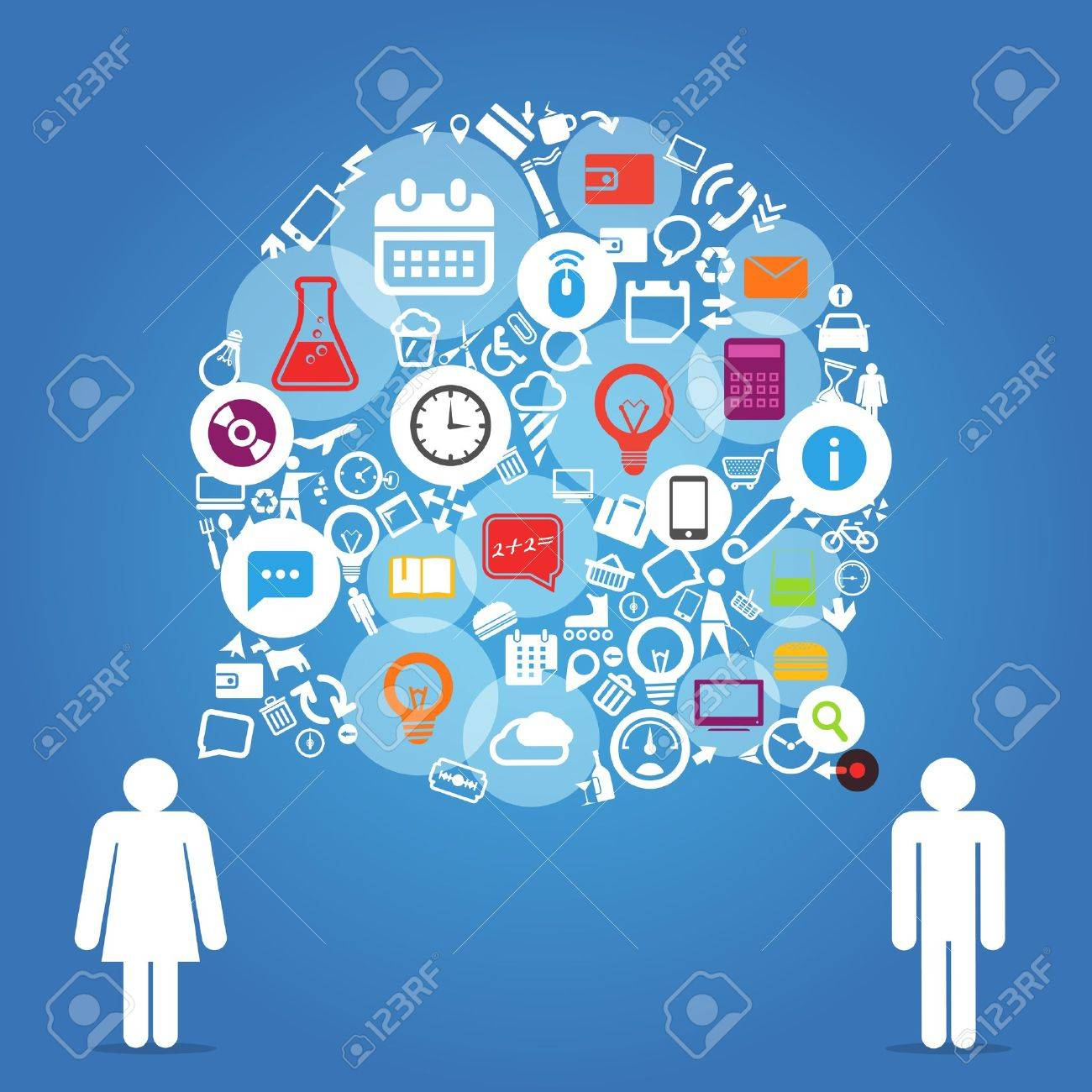 Two talking people with abstract speech cloud of different icons Stock Vector - 21910947