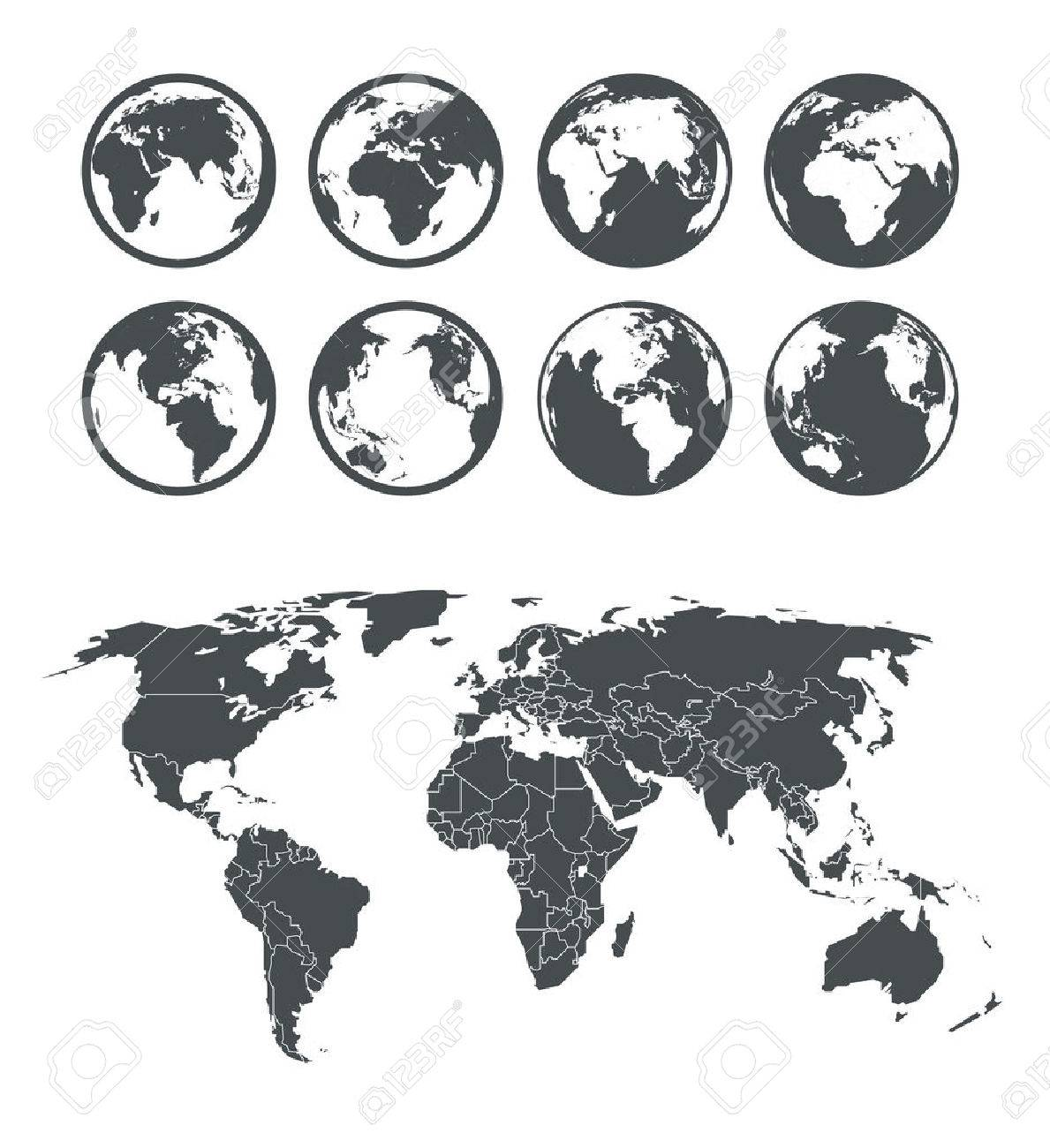 Globe And Earth Map Scheme Collection. Selectable Template Royalty ...