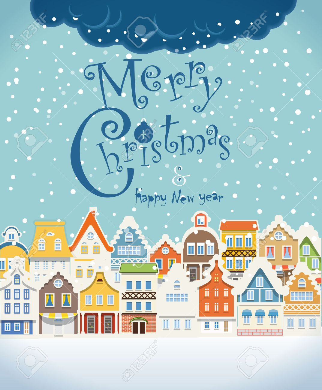 Christmas greating card. Vintage buildings with snowfall on Winter Stock Vector - 22498808