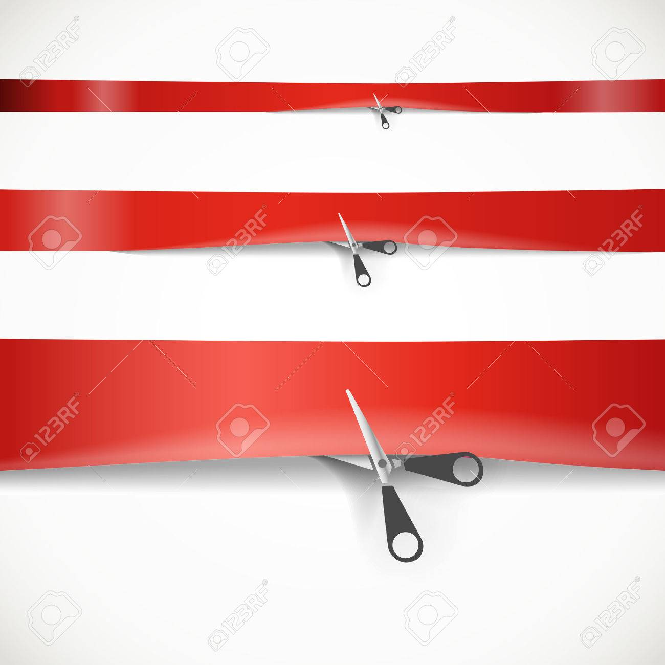 Scissors cutting the red advertising ribbon - 22712988