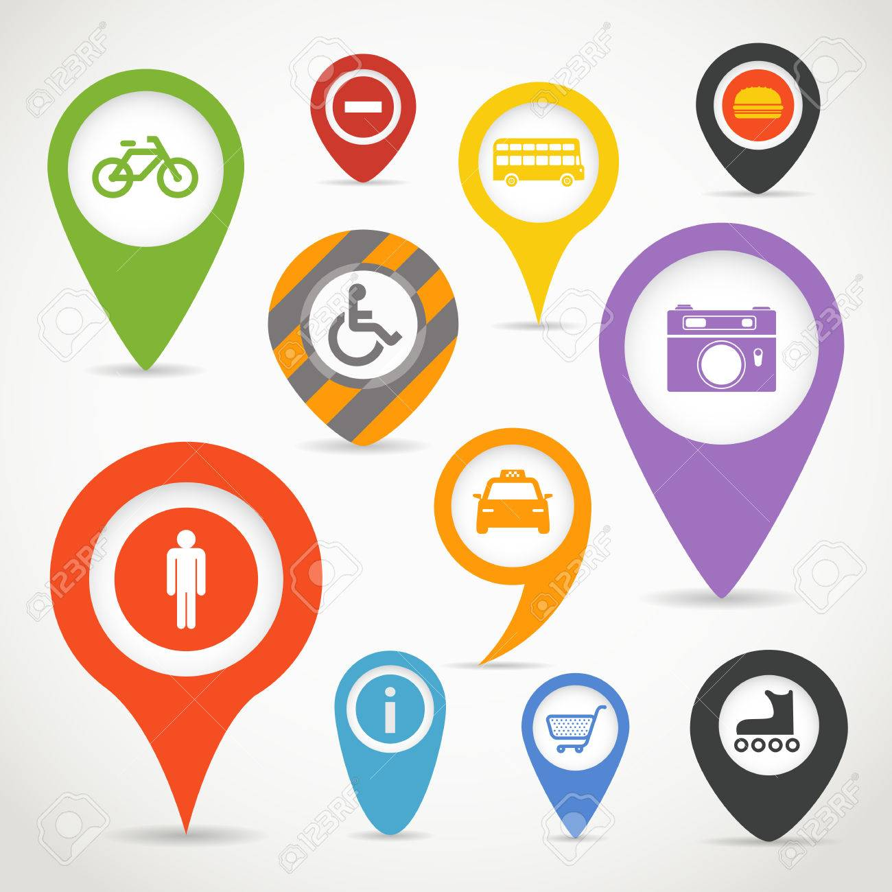 Navigation elements with transport icons - 22963288