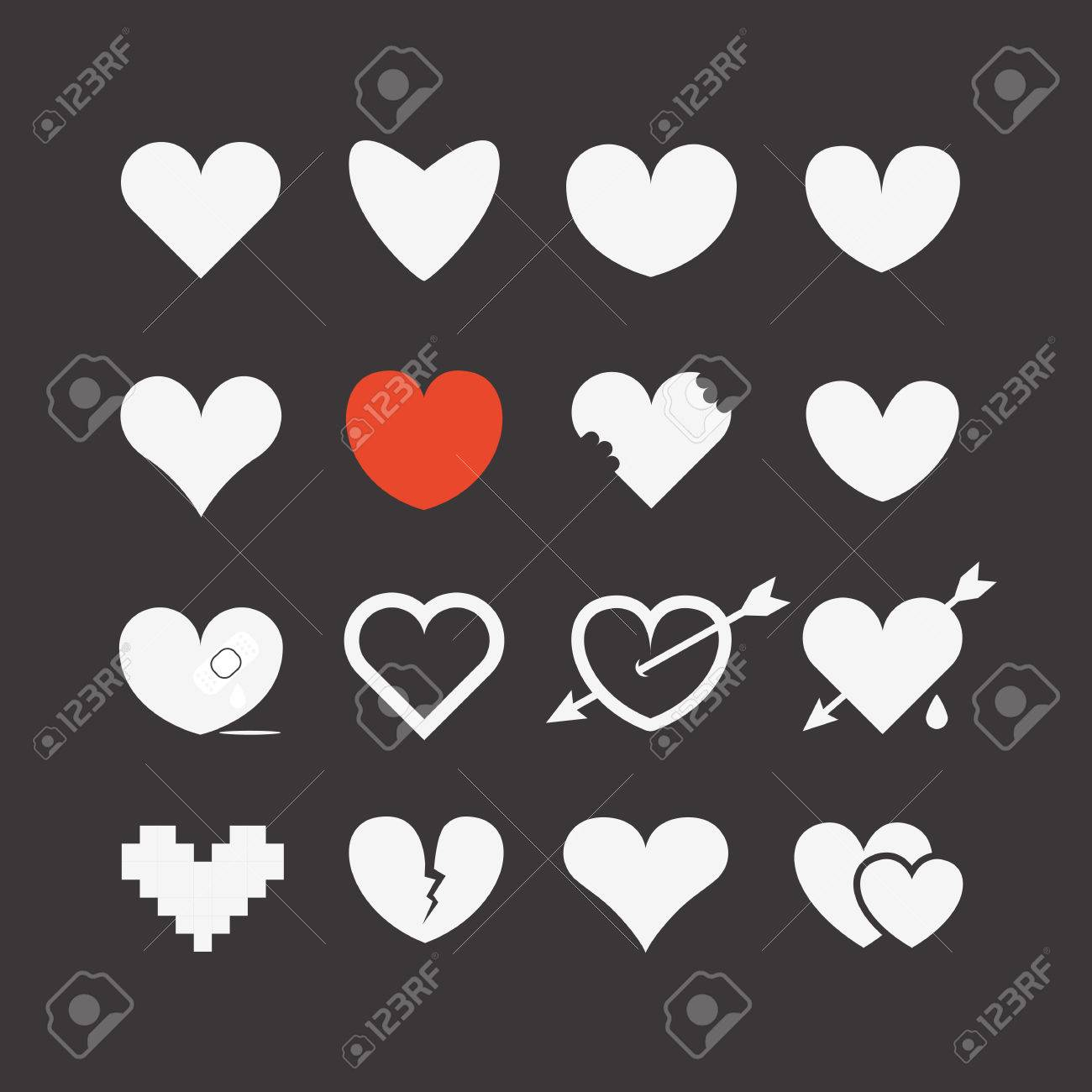 Different abstract heart icons collection - 23203616