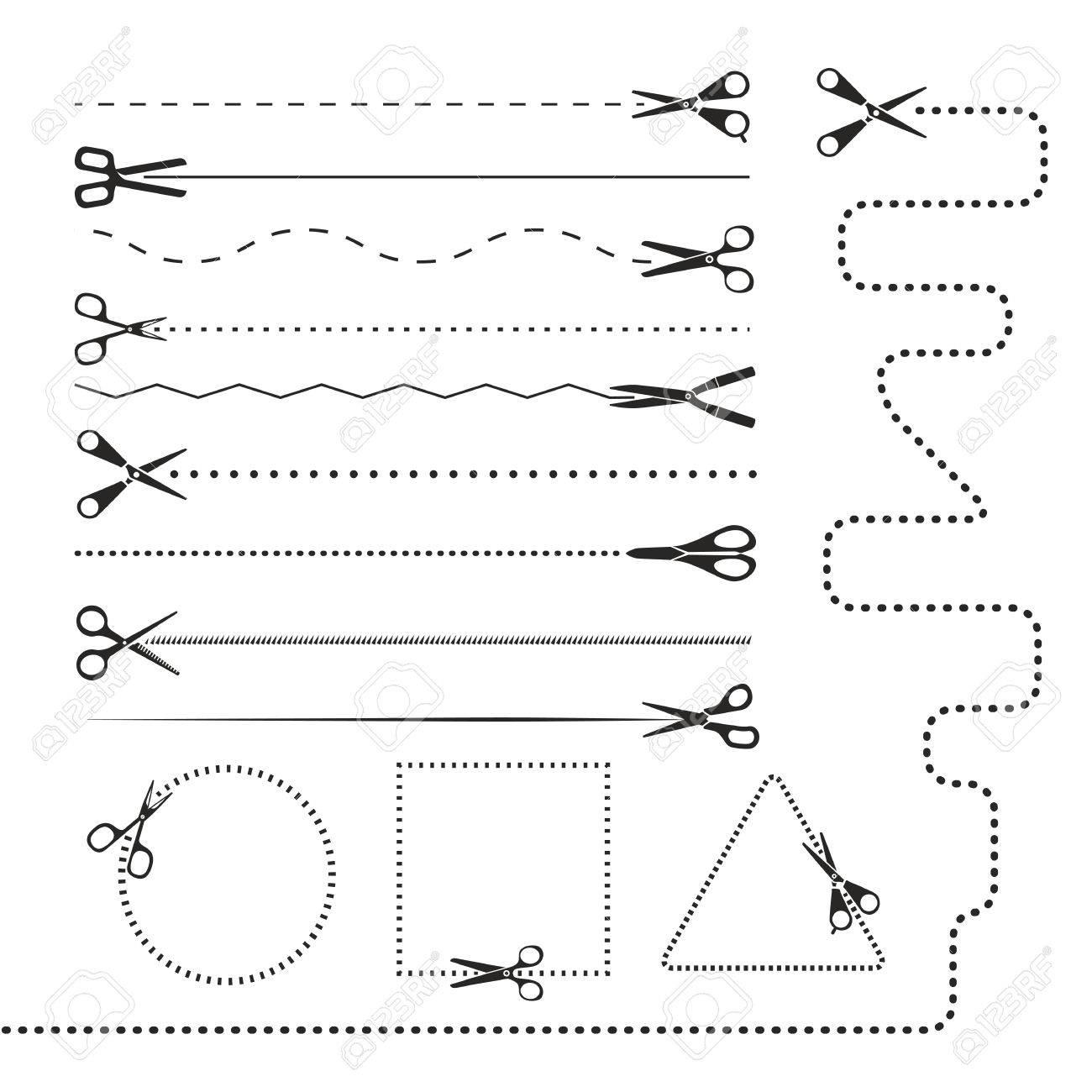 Scissors silhouettes dividers. Vector design elements - 23649134