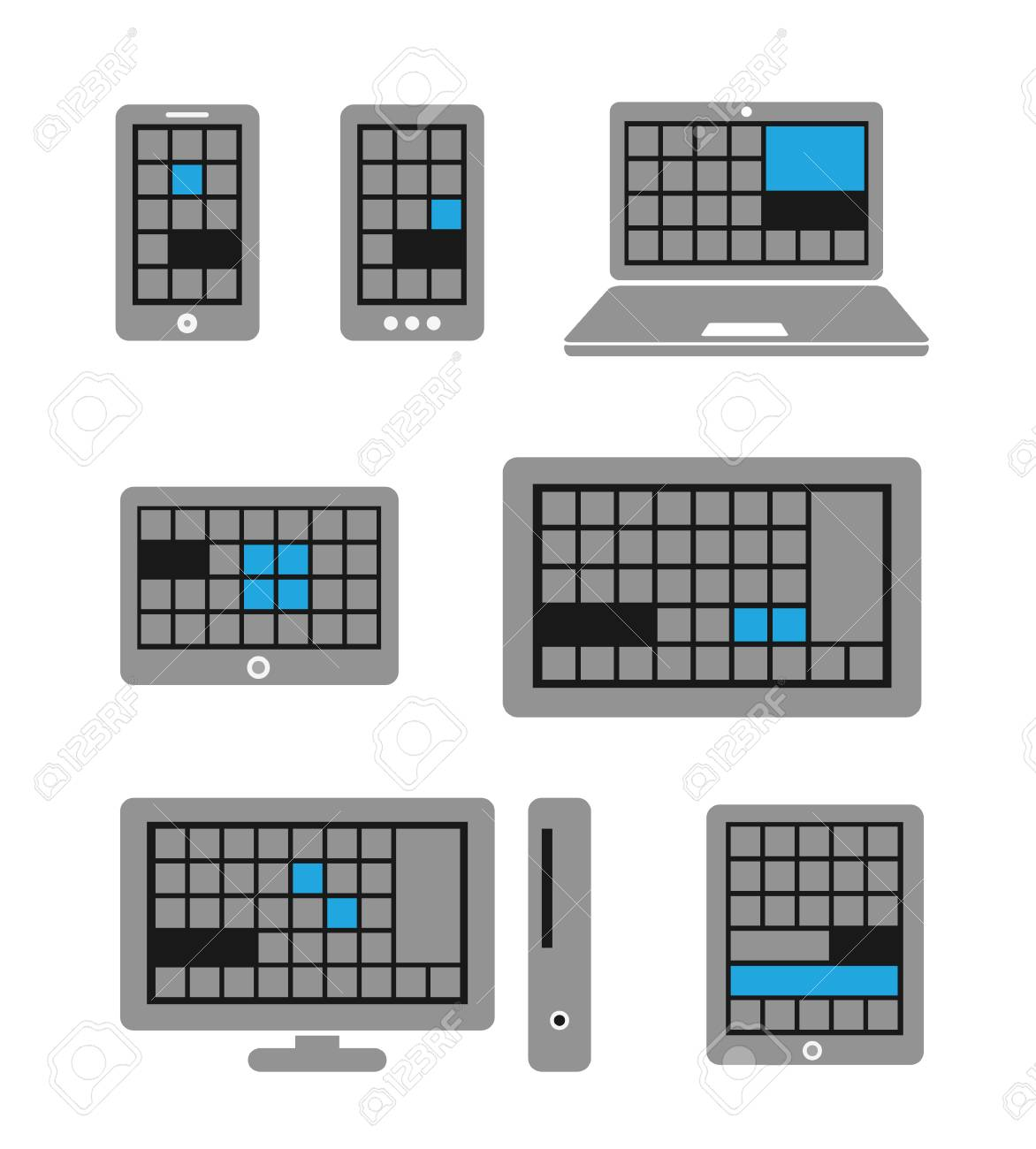 Modern touch gadgets with modern interface template isolated on white Stock Vector - 23649157