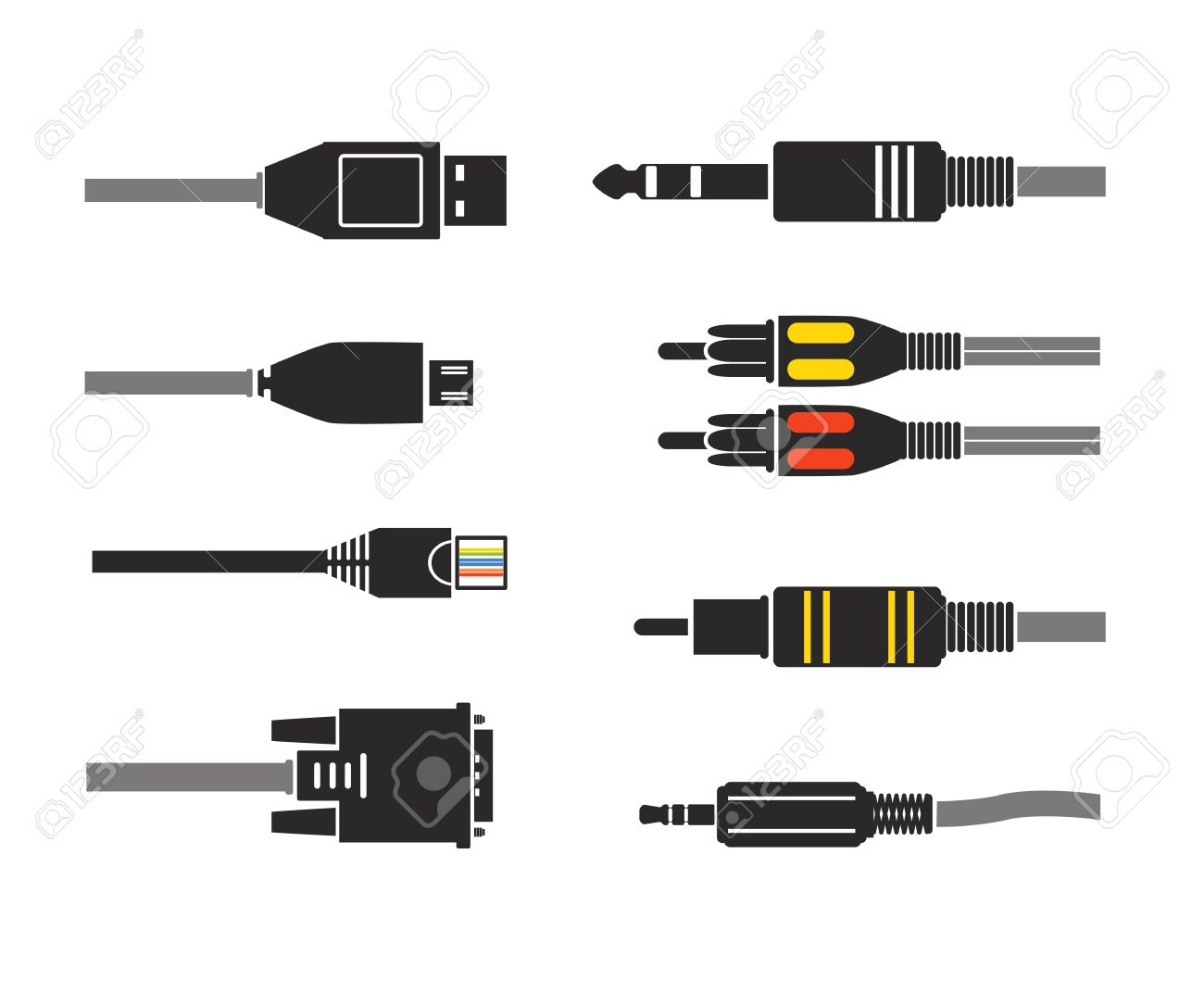 Different modern connection plugs. Vector silhouettes - 23649191