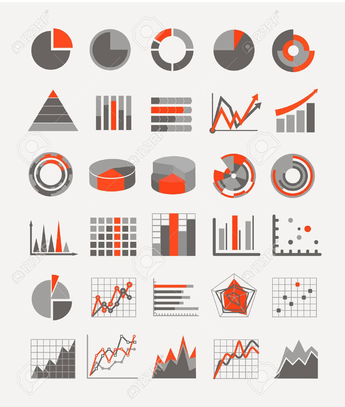 Graphic business ratings and charts infographic elements - 23816411