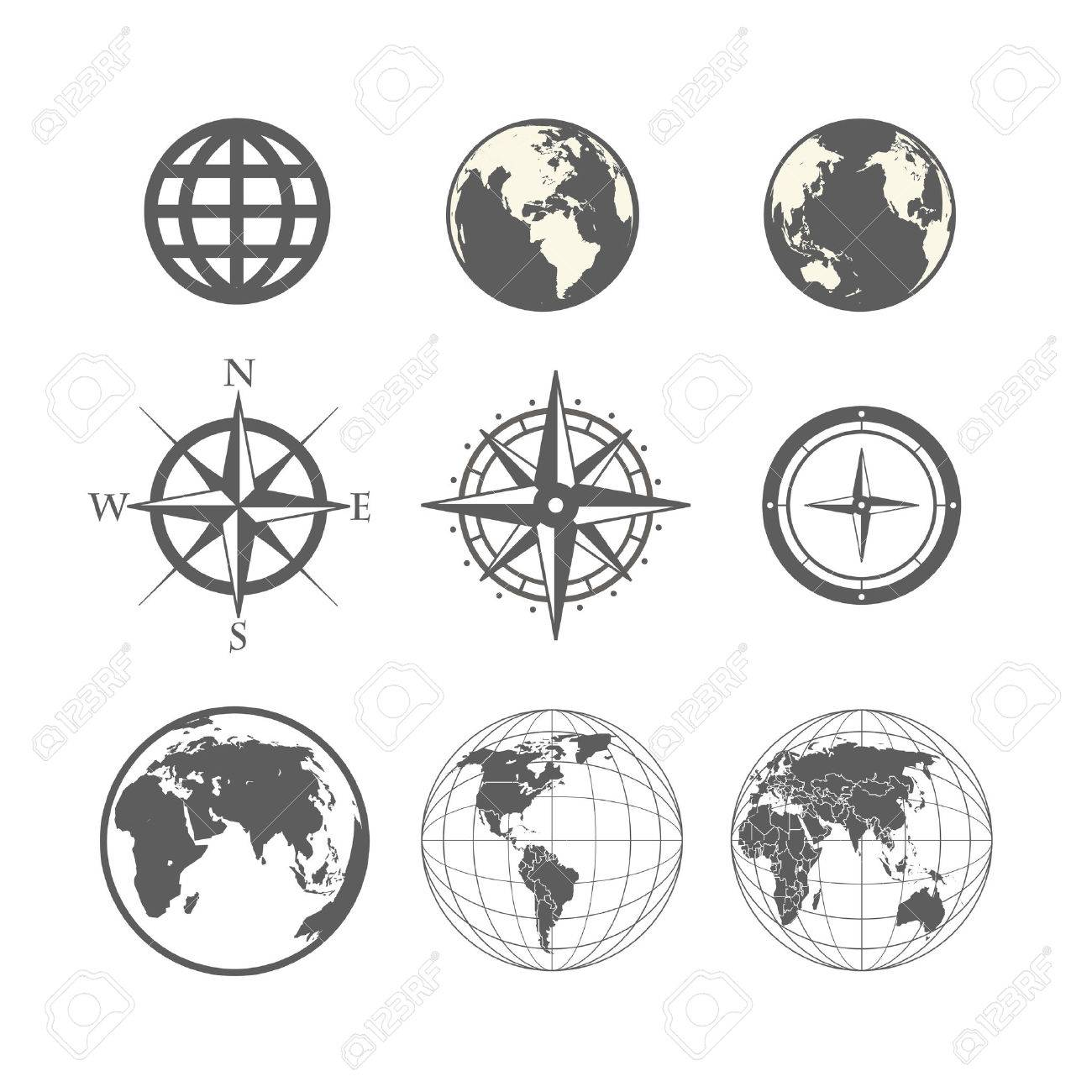 Globe and wind rose scheme collection - 26166048