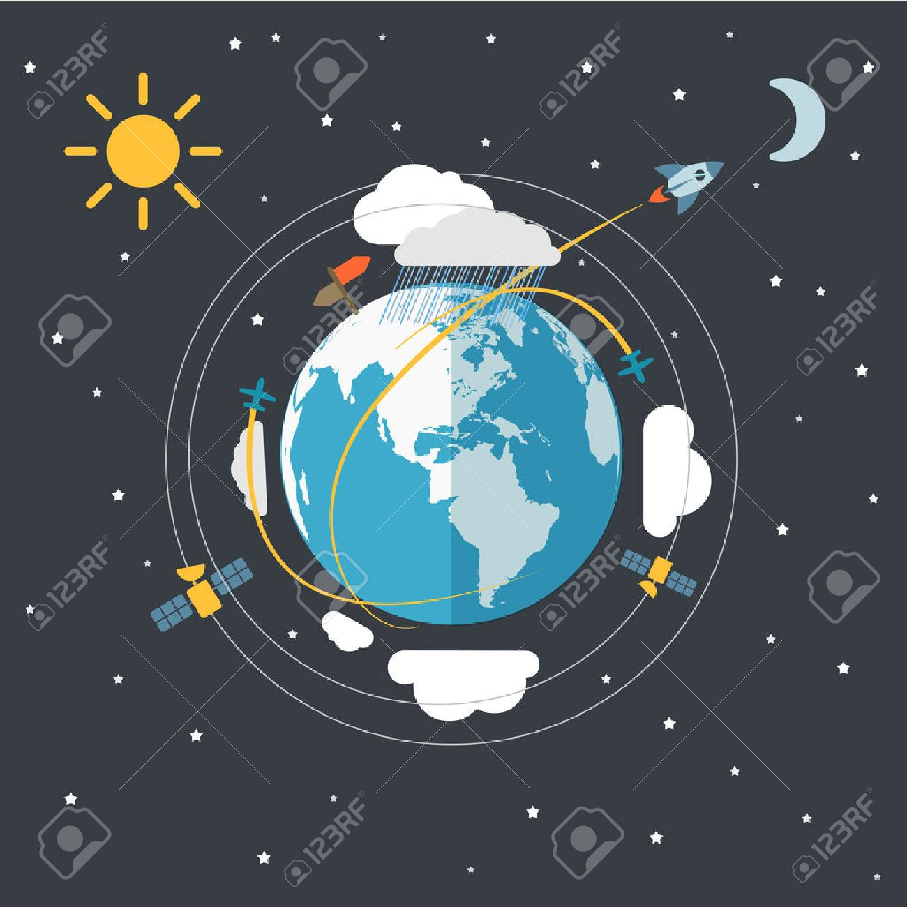 Flat design illustration of the Earth in space - 27494982