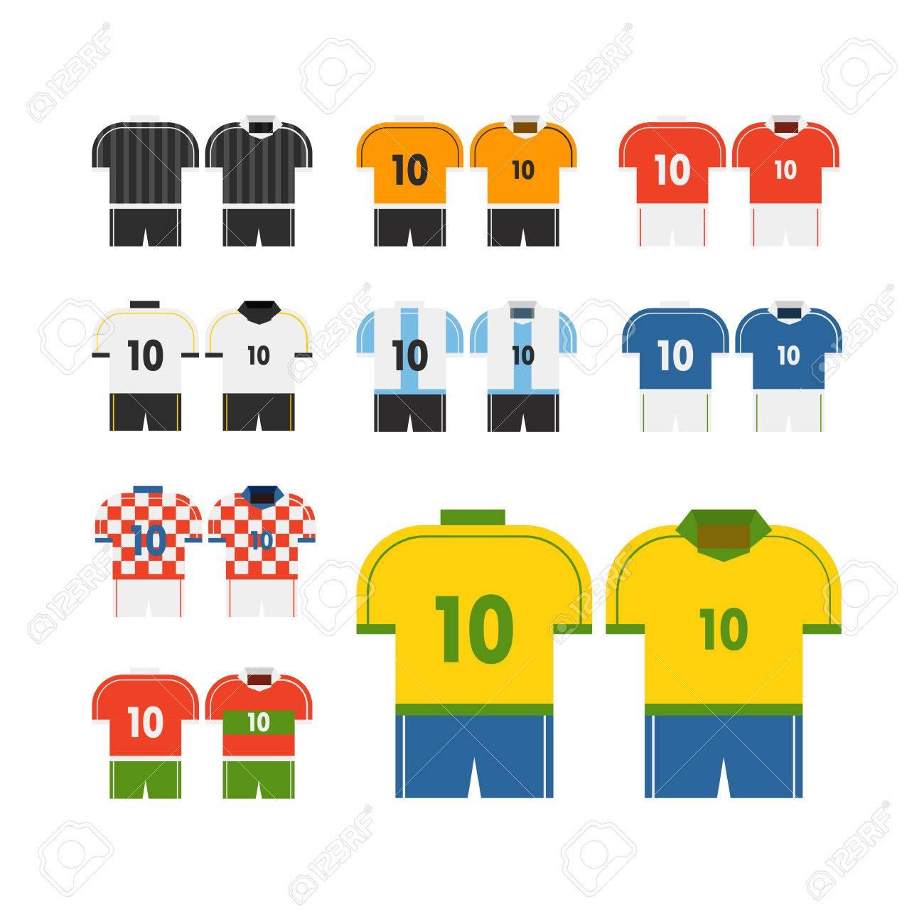 Design t shirt soccer - World Soccer Team T Shirts Vector Clip Art Flat Design Stock Vector