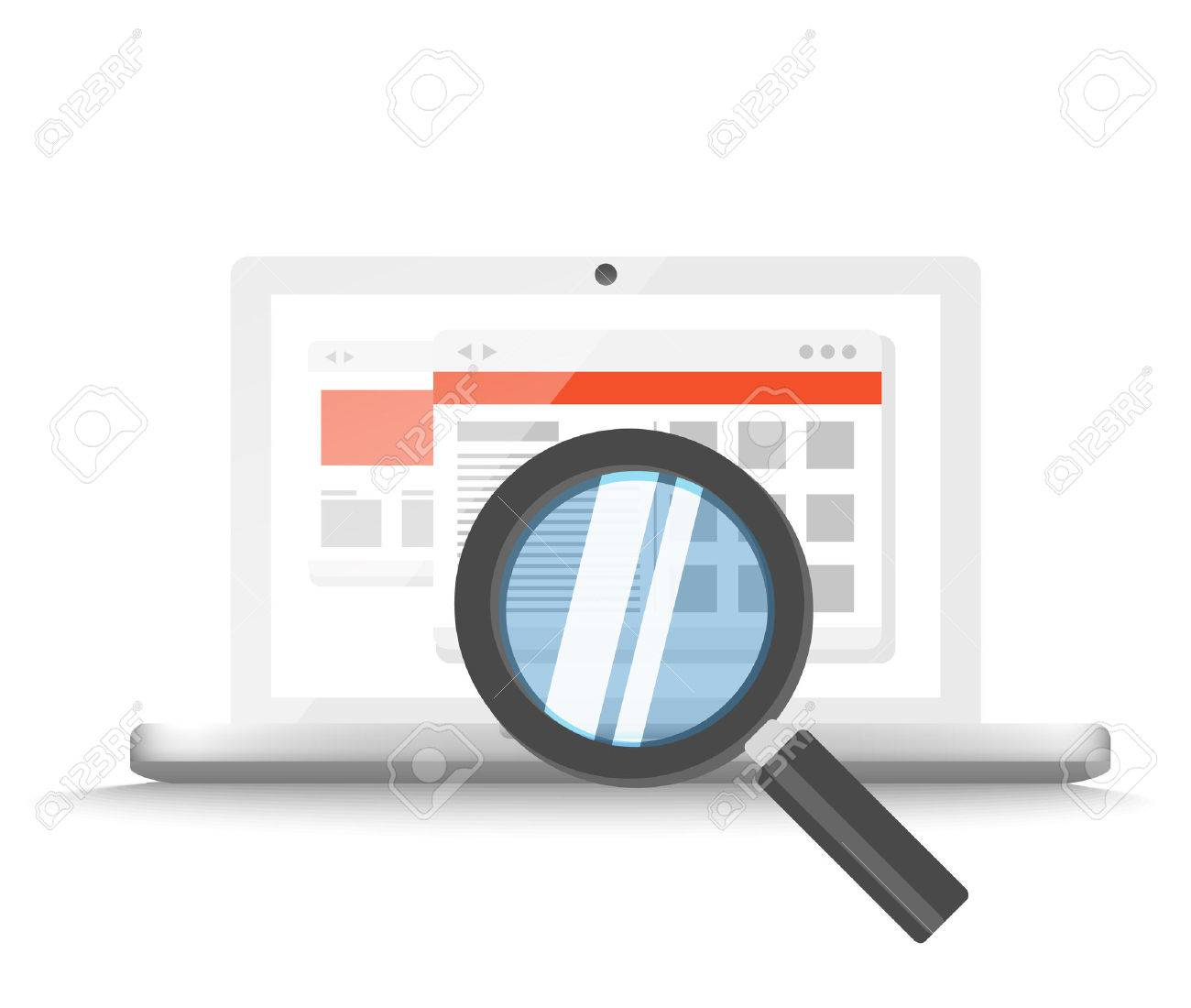 Modern laptop with magnifier searching information on website. Vector illustration - 40396831