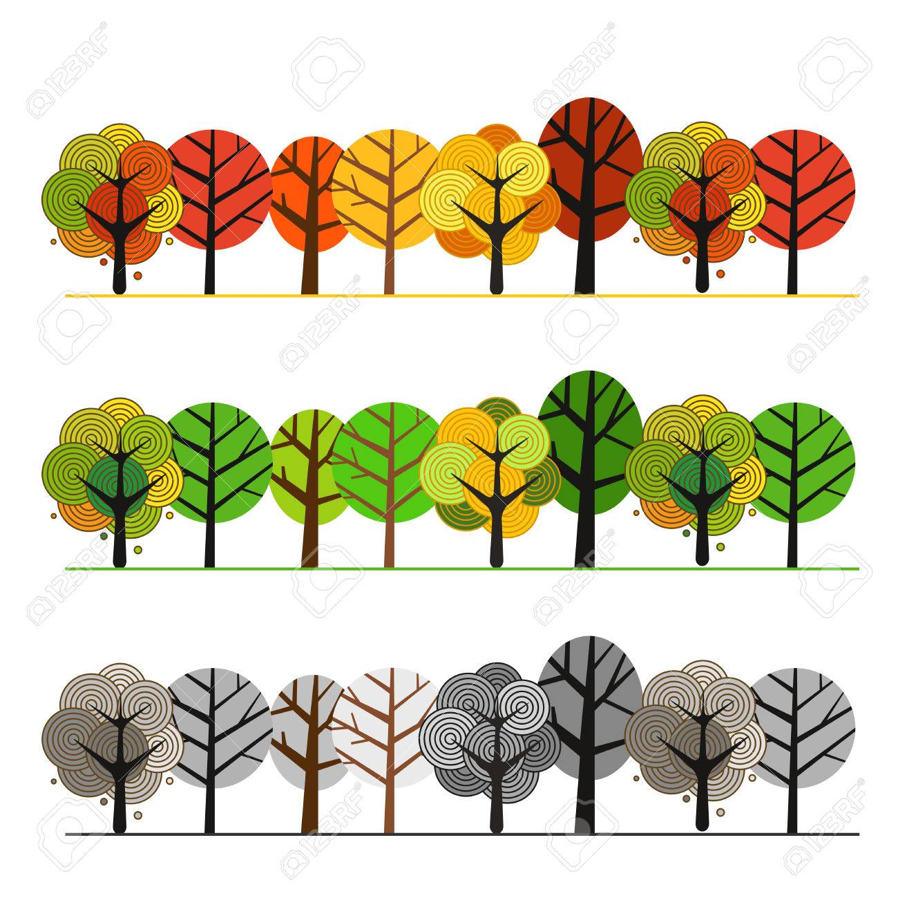 Different seasons of forest. Illustration concept - 43694130