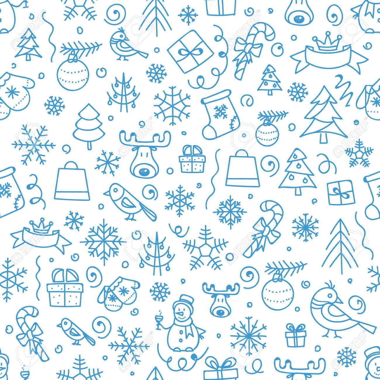 Christmas season vector seamless pattern. Xmas hand-drawn elements - 47519670