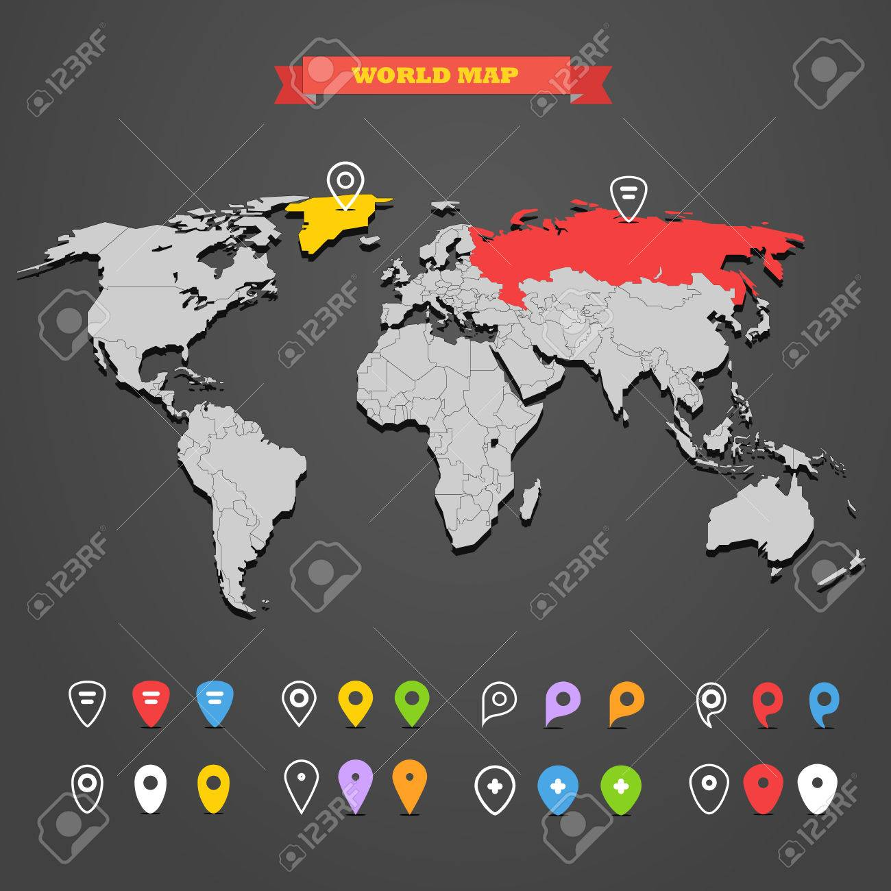 World Map Infographic Template With Different Markers All Countries