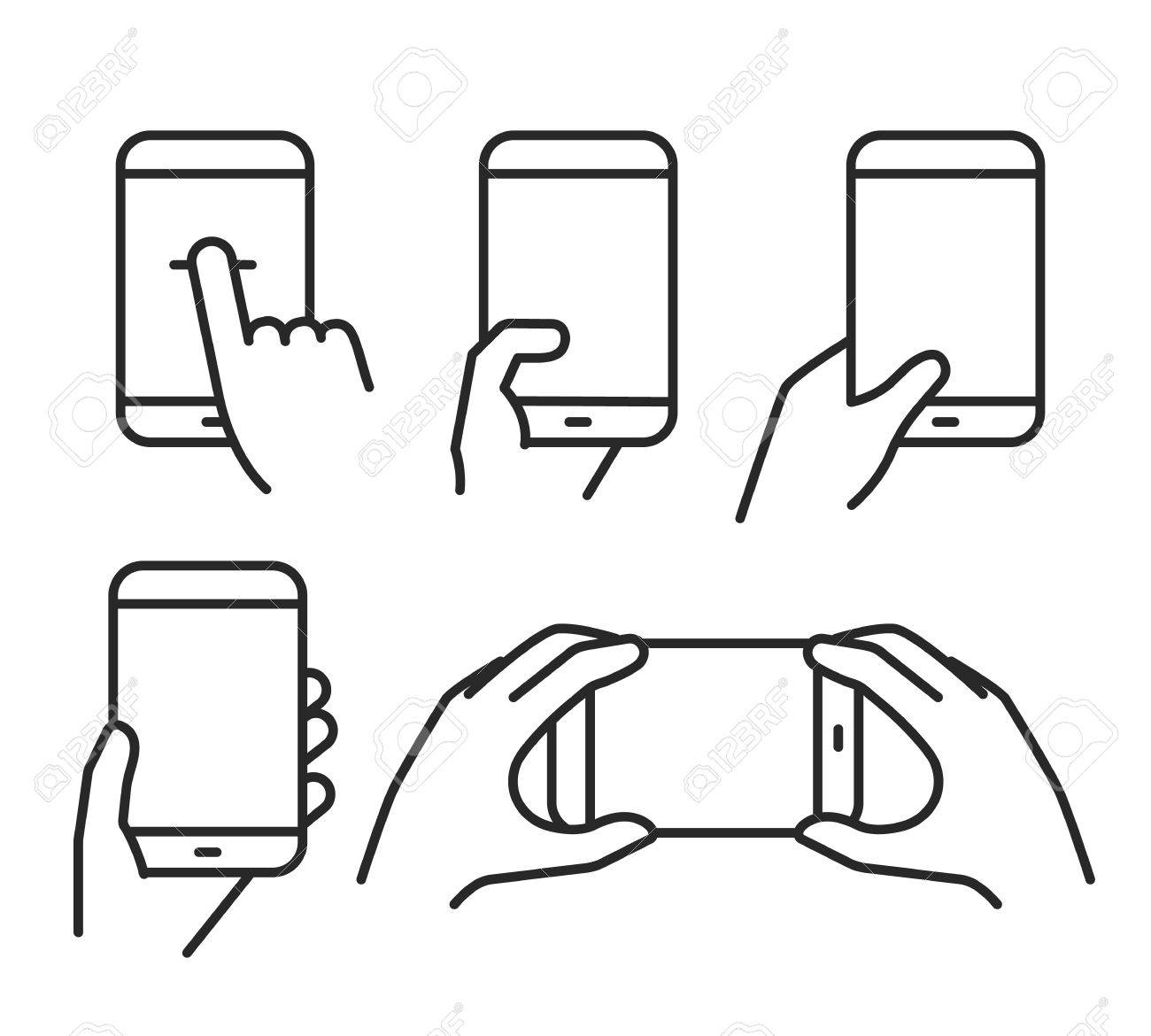 Different variations of holding a modern smartphone. Lineart pictograms collection - 53605975