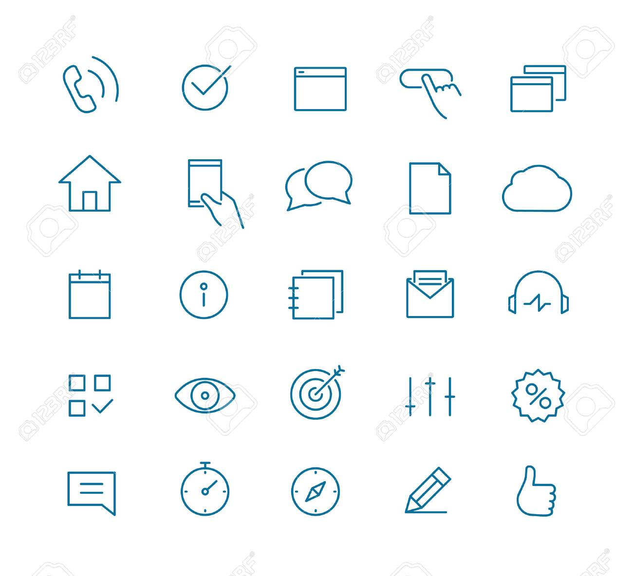 Modern web and mobile application pictograms collection. Lineart intercece icons set - 53606093