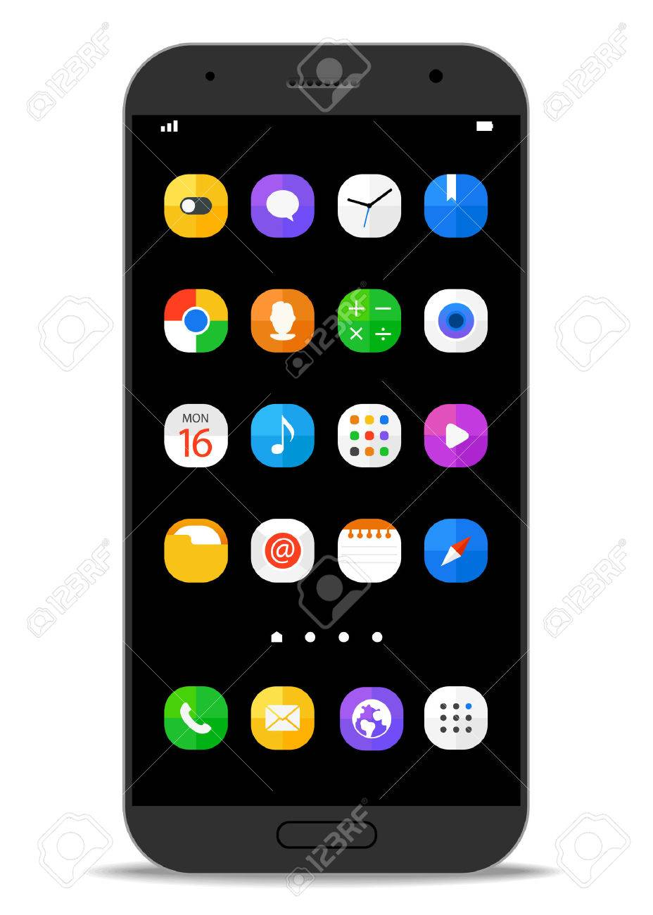 Modern smartphone template with different color icons. Vector flat design elements - 54276367