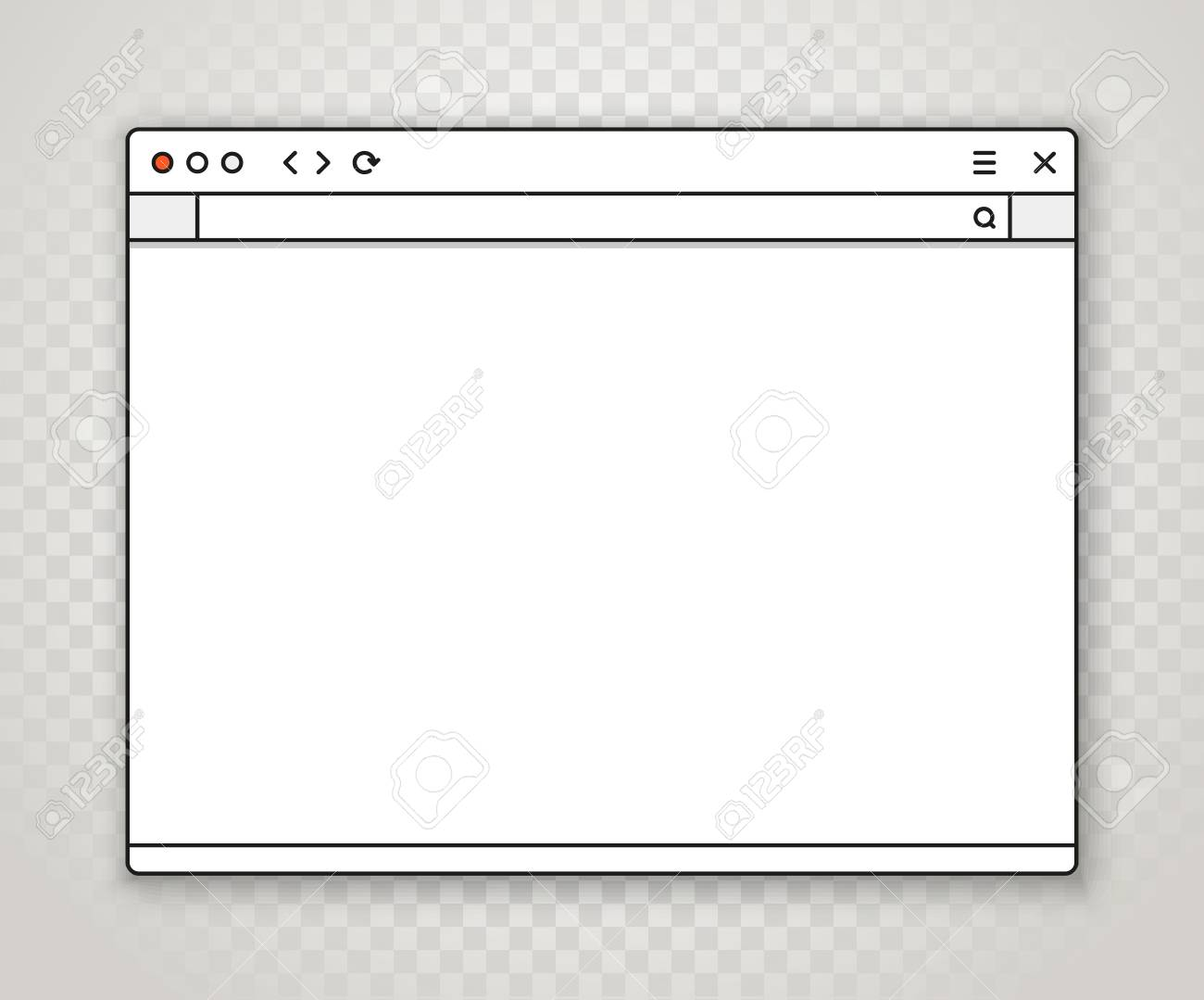 opened browser window template on transparent background. past