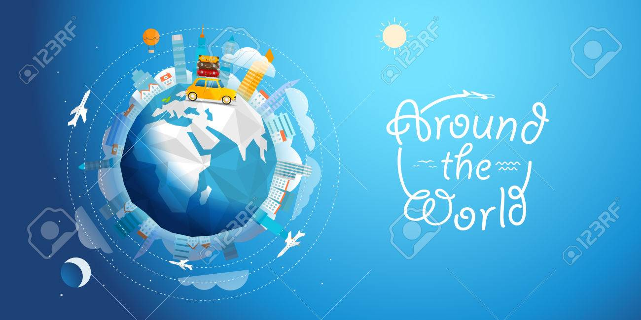 Across the world tour by car. Travel concept vector illustration - 57562564
