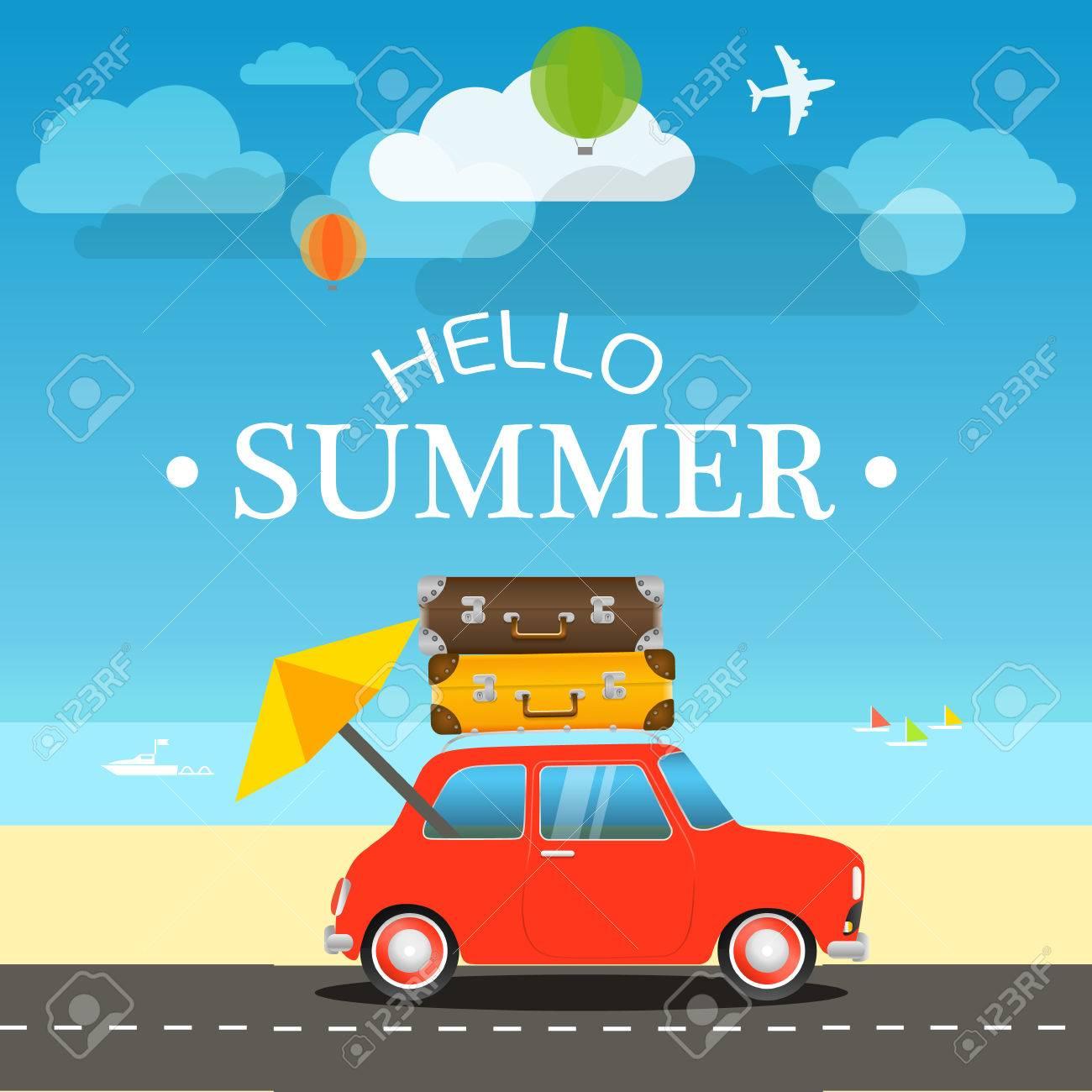 Vacation travelling concept. Flat design illustration - 57562558