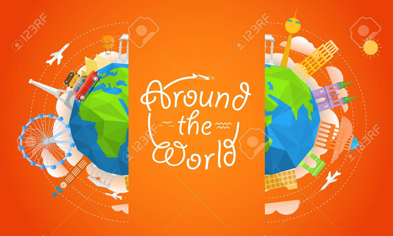 travel vector illustration around the world concept travel