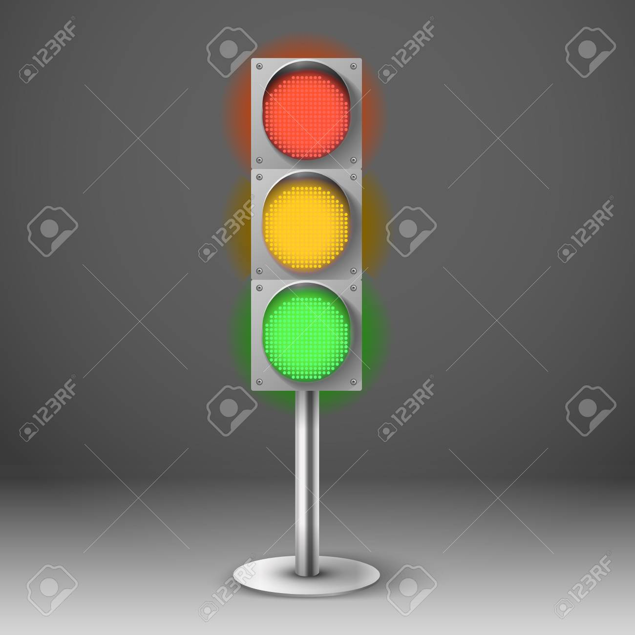 traffic light vector illustration red yellow and green diod