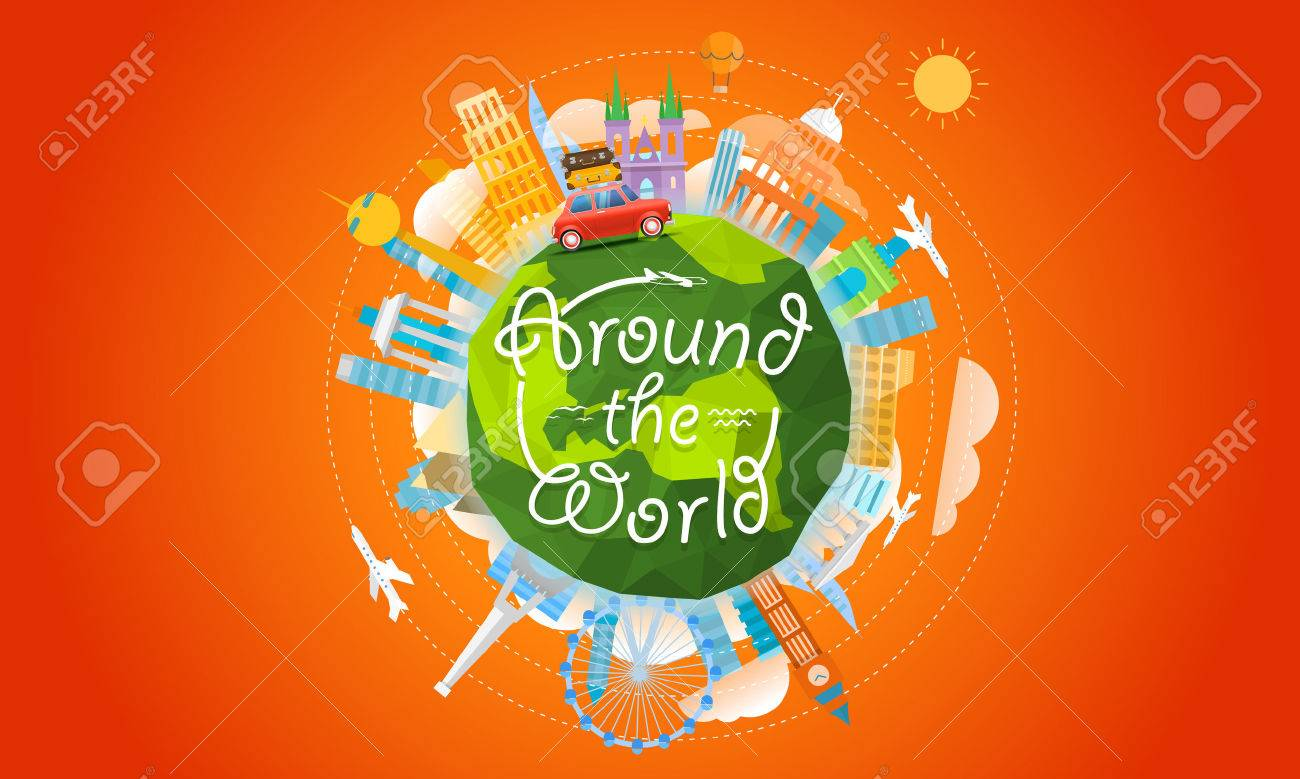 Vacation travelling concept. Vector travel illustration with the car. Around the world - 58664278