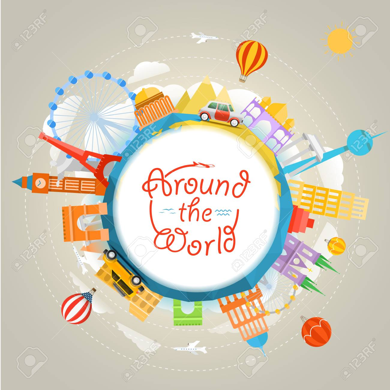 Travel Around The World Concept Template For A Text Stock Vector
