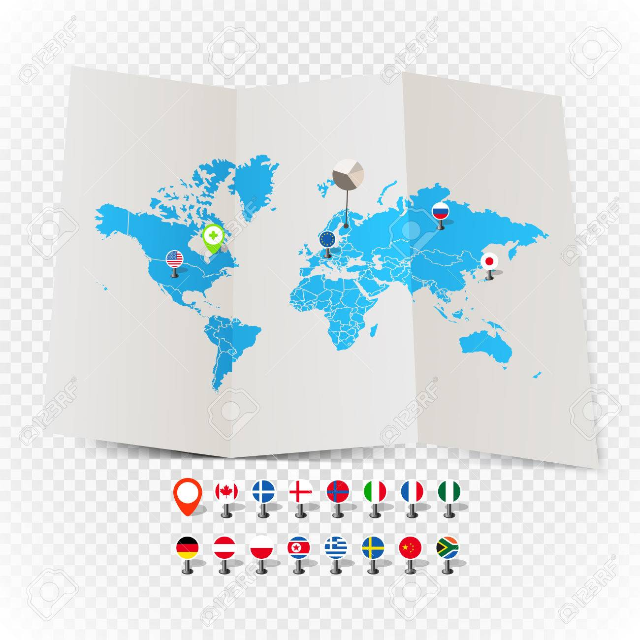 World map on old map and flags of different countries and symbols vector world map on old map and flags of different countries and symbols on transparent background gumiabroncs Images