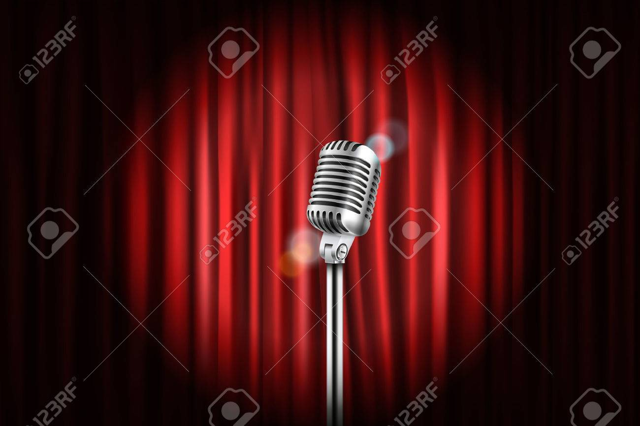 Stage Curtains With Shining Microphone Illustration. Standup ...