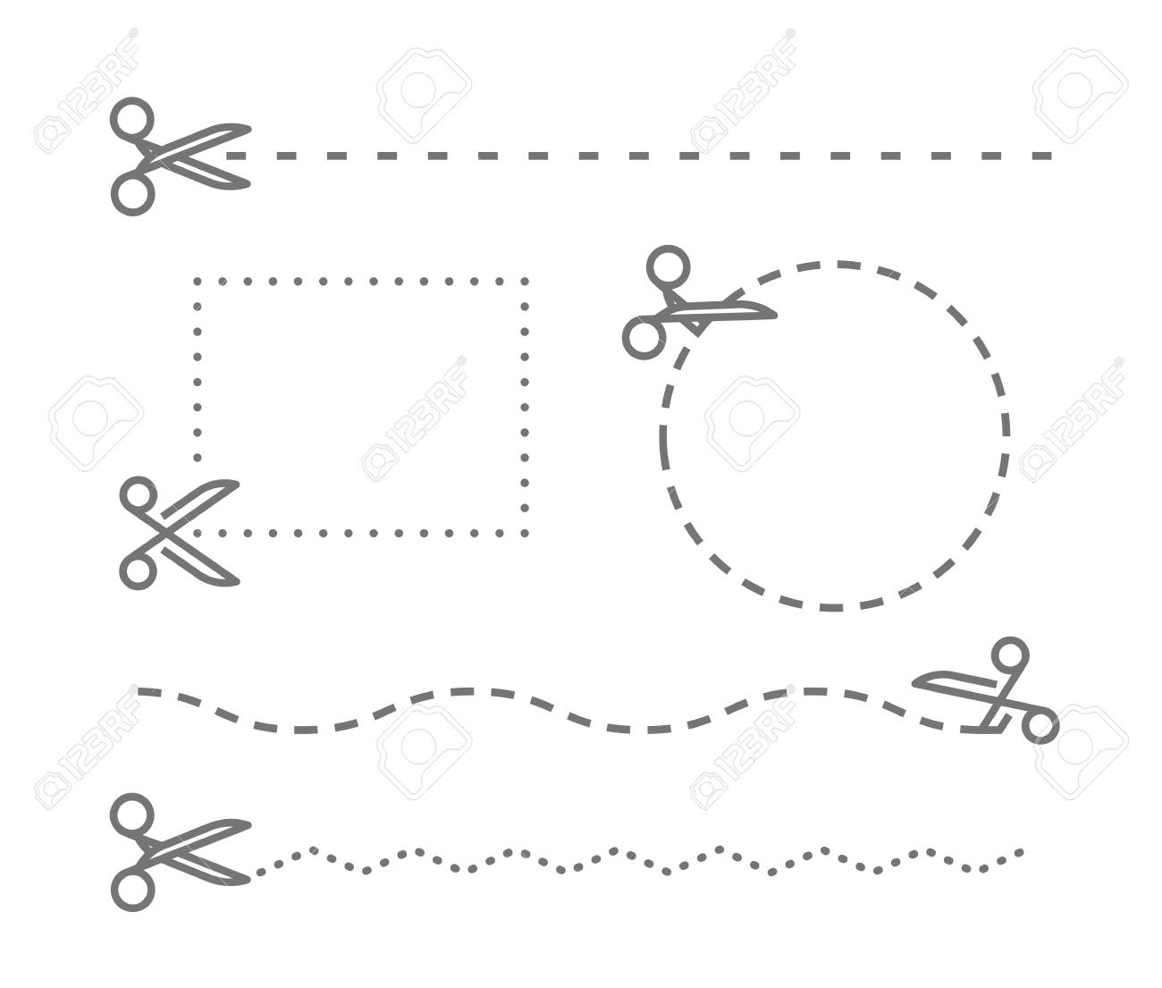 different scissors with cut lines template vector elements