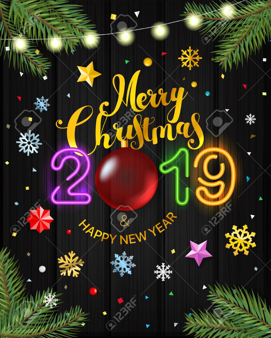 Merry Christmas 2019 Wishes Merry Christmas And Happy New Year 2019 Greeting Vector Card