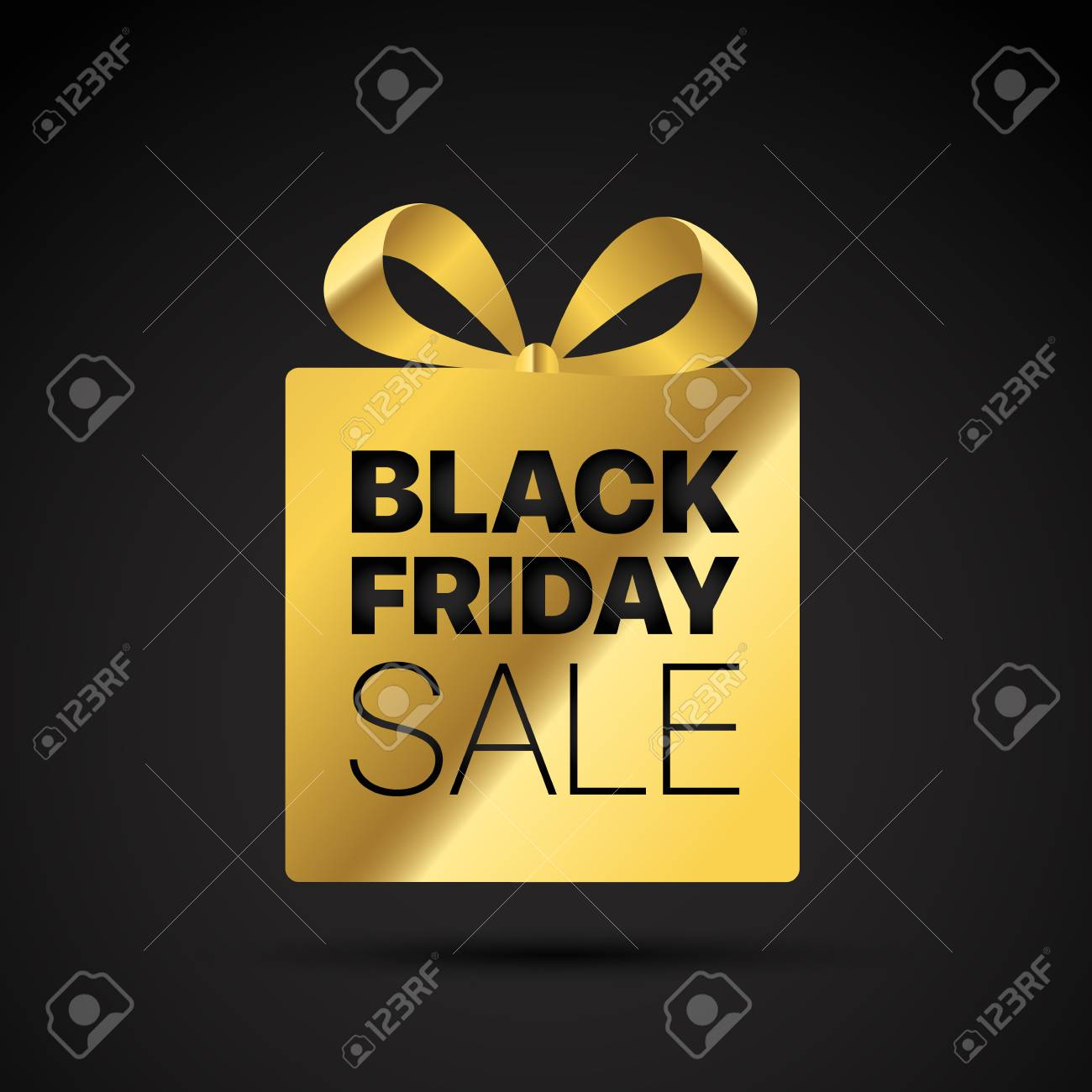 Black friday golden shopping tag. Vector label - 112626034