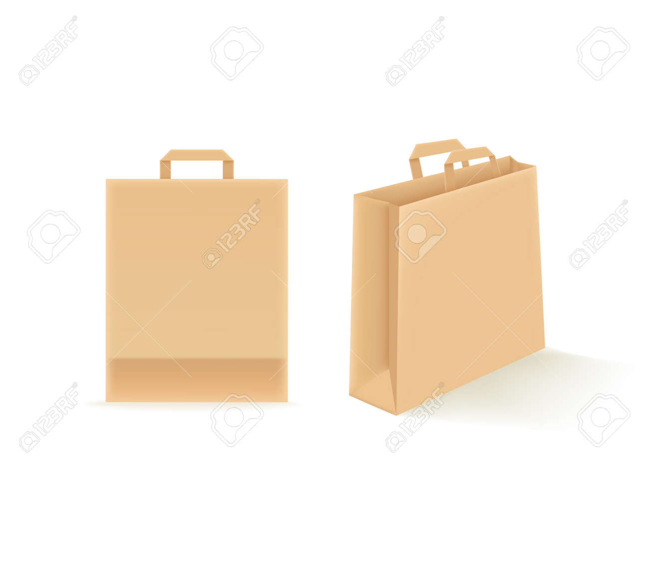 Empty paper shopping bags isolated on white. Vector mockup - 166403414