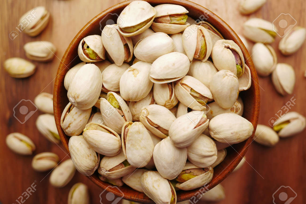 detail shot of pistachios nut on in bowl - 169728710