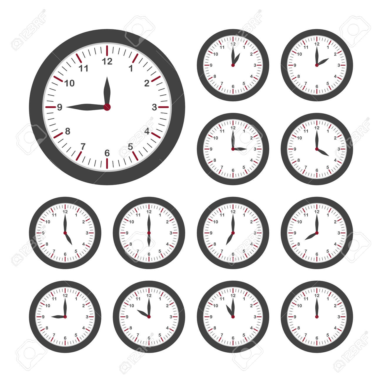 Set of round clocks for every hour. Analog clock with circle shape, time and minutes. Vector - 159636894