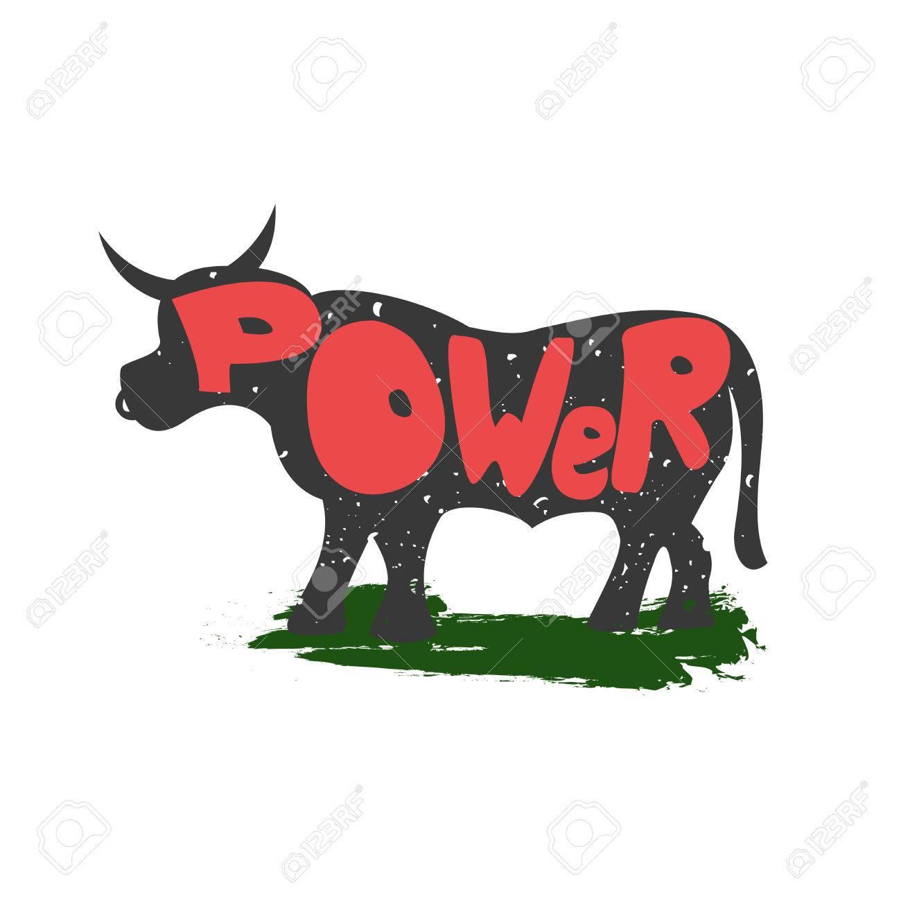 Vettoriale Toro Con Il Potere Iscrizione Simboleggia La Forza E