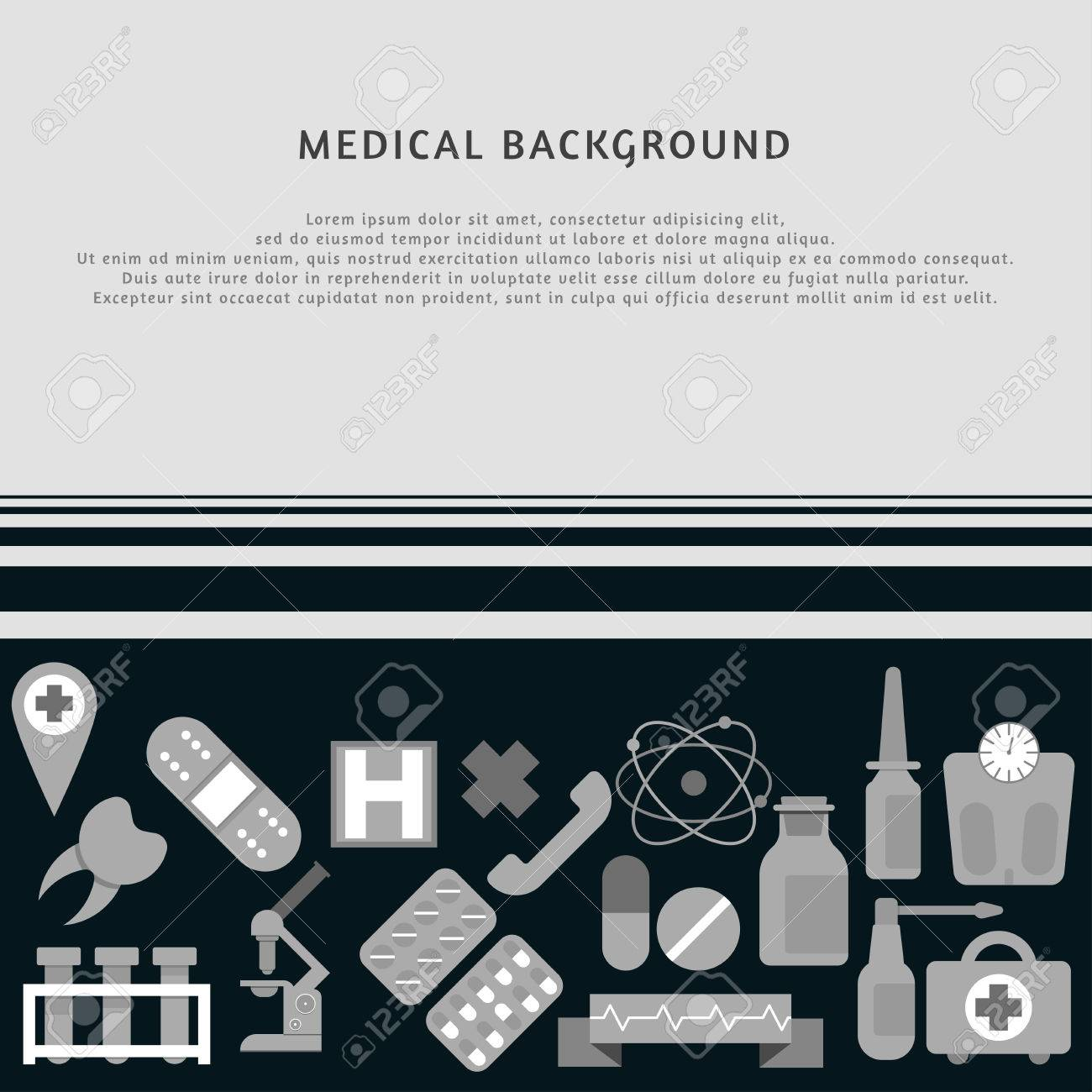 Medical Background With Icons On It. Medicine Template. Grayscale ...
