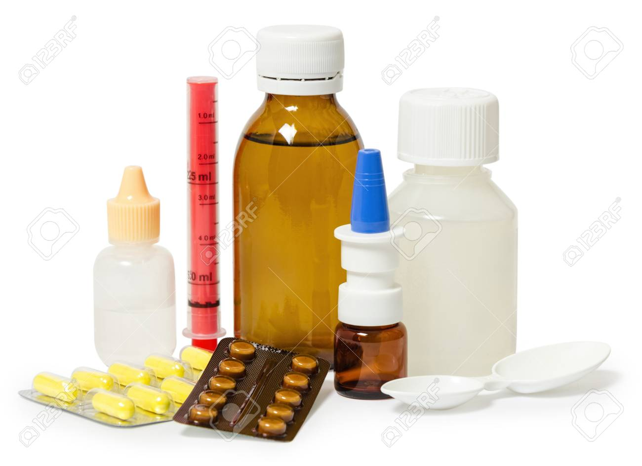 set of medicines for the treatment of various ailments and symptoms. Isolated on white background - 69755801
