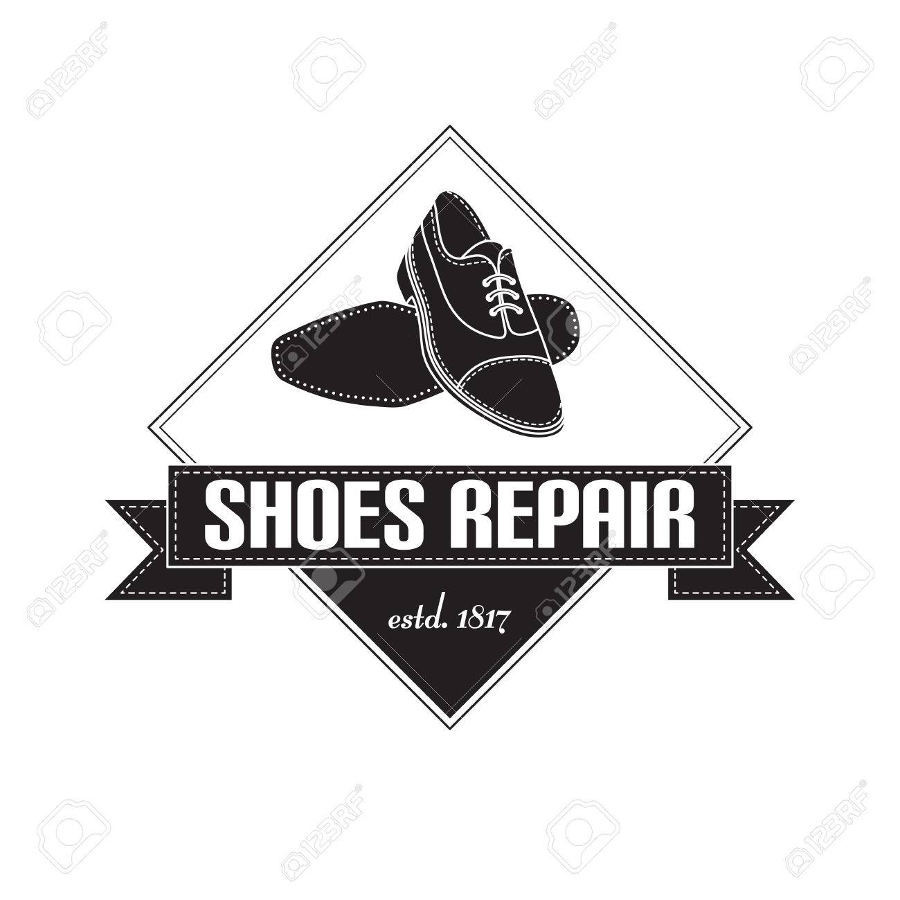 e310f5917a76 Vector - vector image of logo of shoe repair services. Trendy concept for  workshop repair or restoration of leather goods