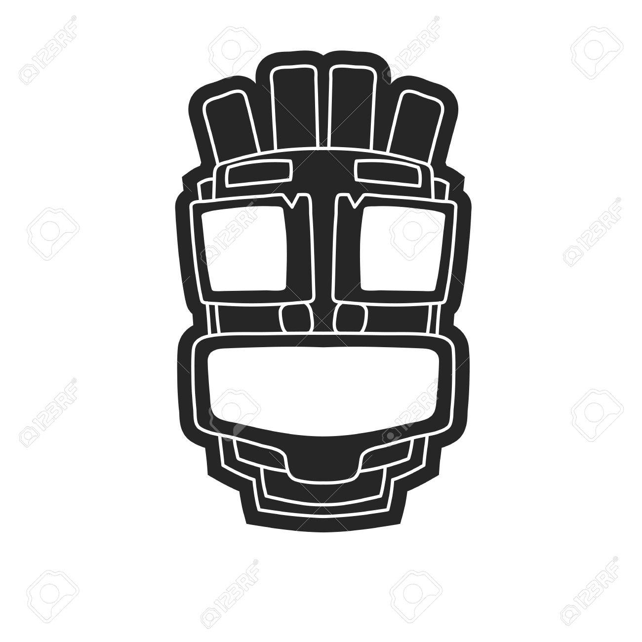 Ancient Tribal Mask In Black And White Style. Icon Or Logo On ...