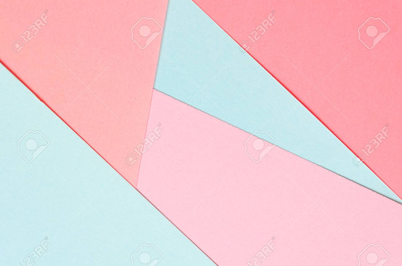 Background Of Colored Paper Geometric Shapes Vivid Template Stock Photo
