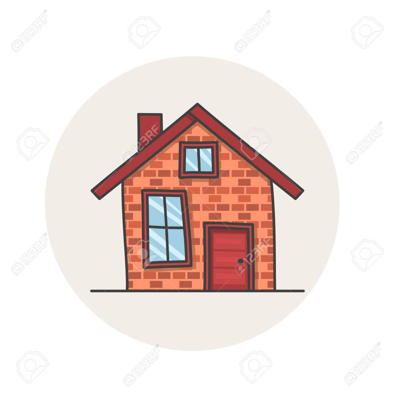 Banque dimages façade vintage de dessin animé bâtiment dessiné à la main maison de doodle isolé sur blanc