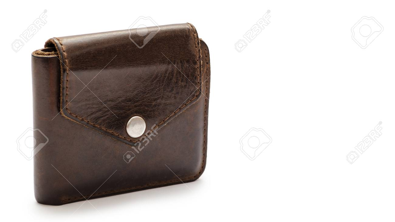 Brown Leather Wallet Isolated On White Background Copy Space Template Stock Photo