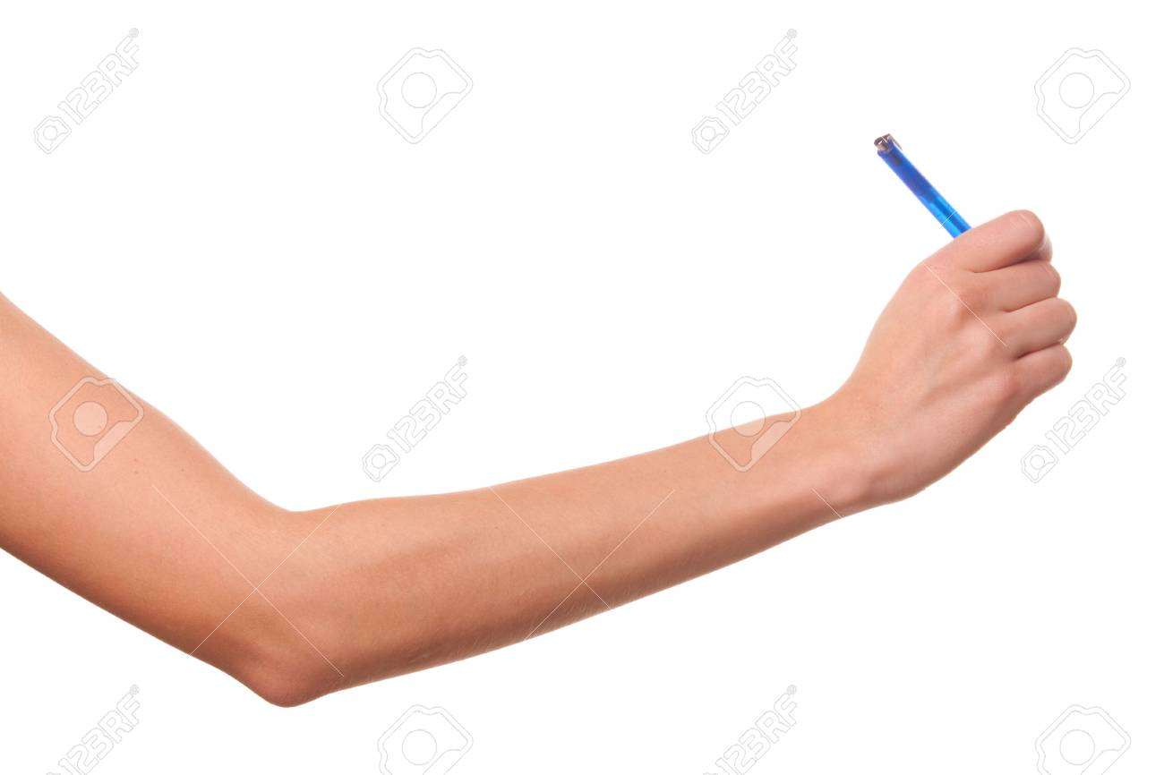 She wrote in pen. Isolated on white. Stock Photo - 5992959