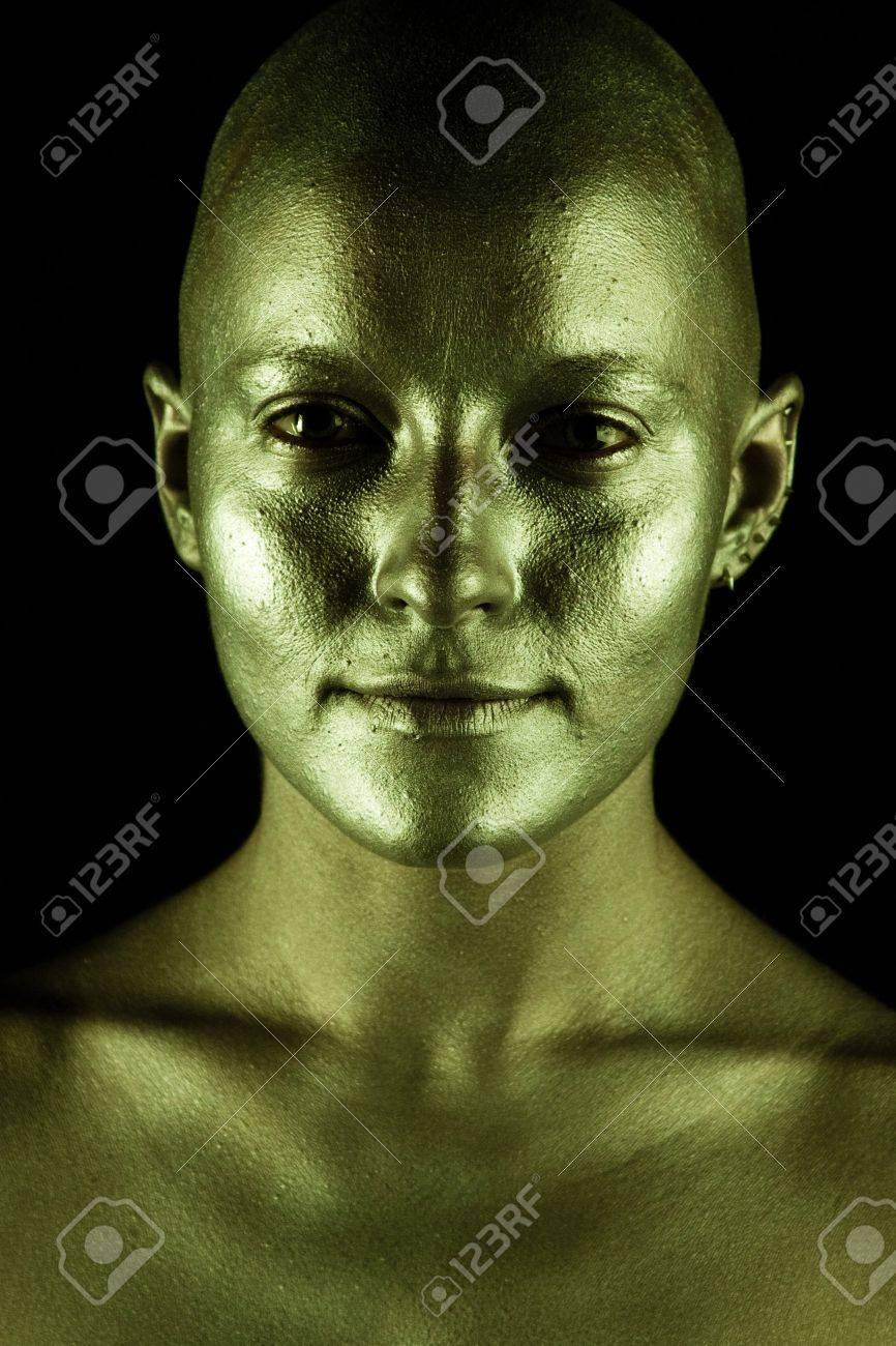Beautiful bald woman. On black background. Stock Photo - 7775797