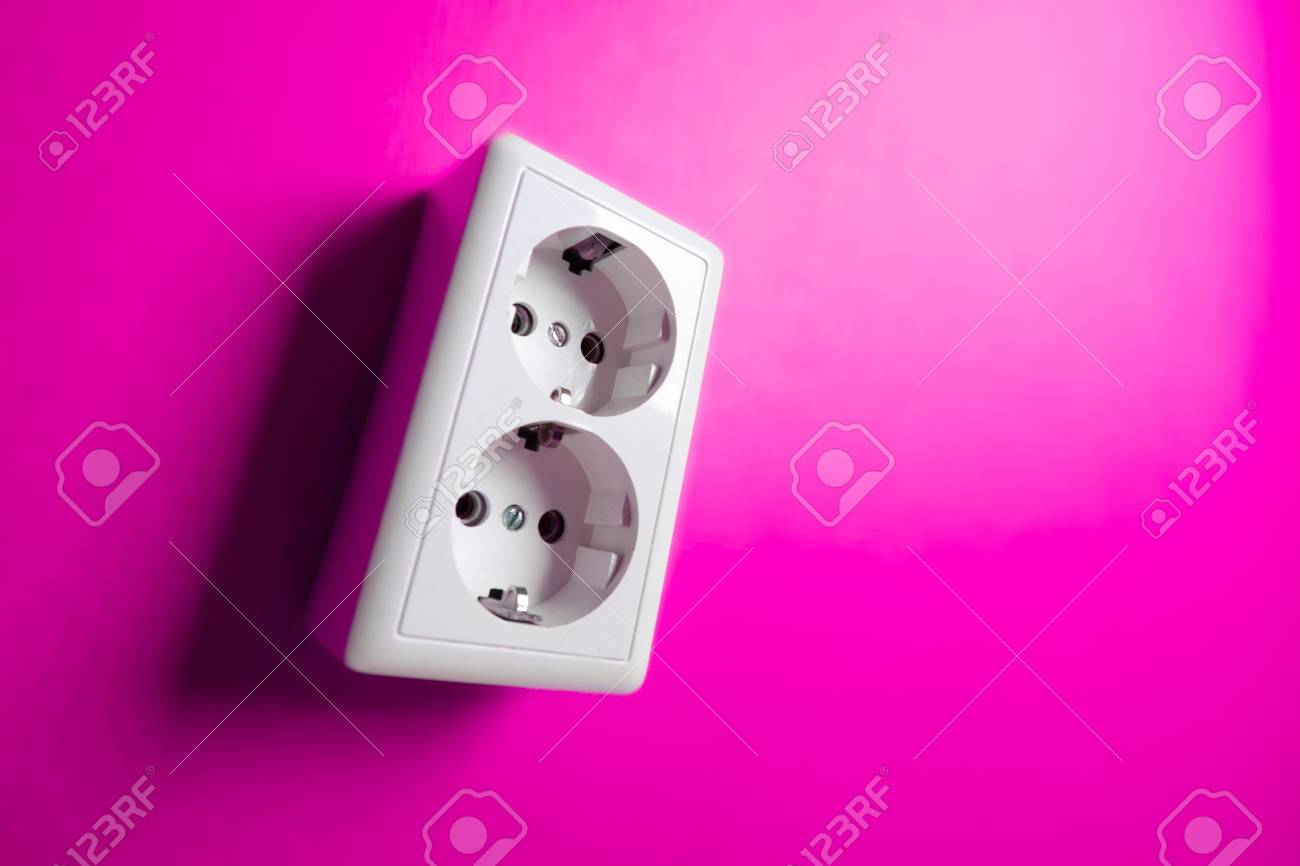 White electric socket on the wall. Close up. Stock Photo - 7775012