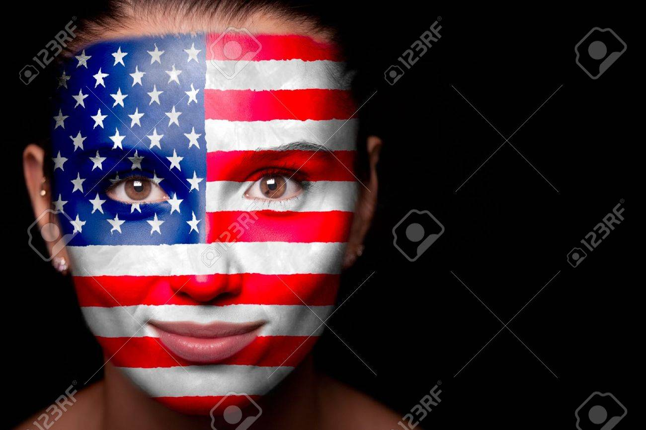 Portrait of a woman with the flag of the USA Stock Photo - 11230750